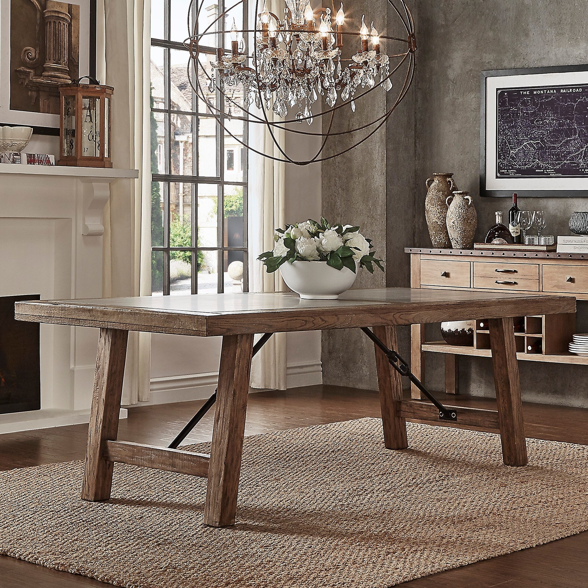 Shop Dakota Oak Reinforced Concrete Trestle Dining Table by iNSPIRE ...