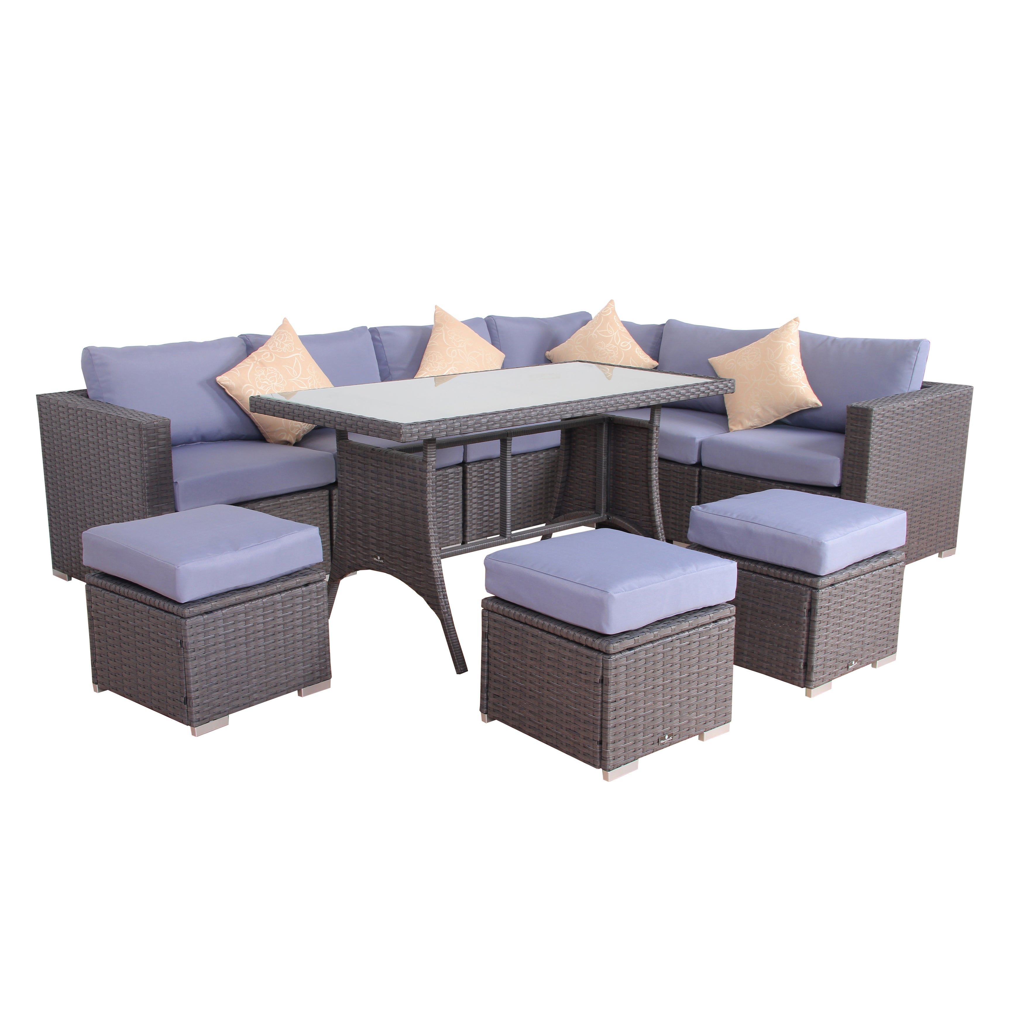BroyerK Blue Grey Rattan 10 piece Patio Furniture Set Free