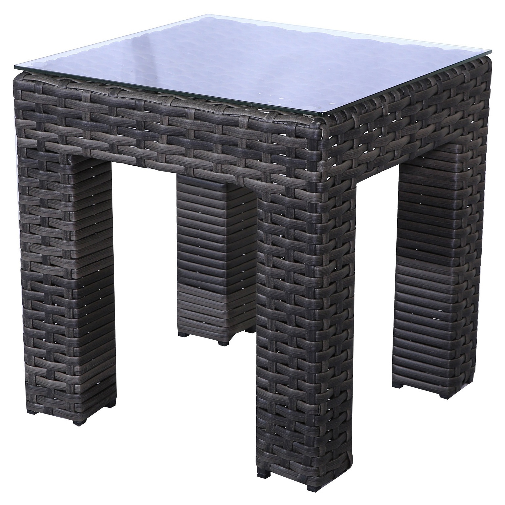 Shop Bora Bora Grey Wicker Rattan End Table With Glass Top   Free Shipping  Today   Overstock   11961509