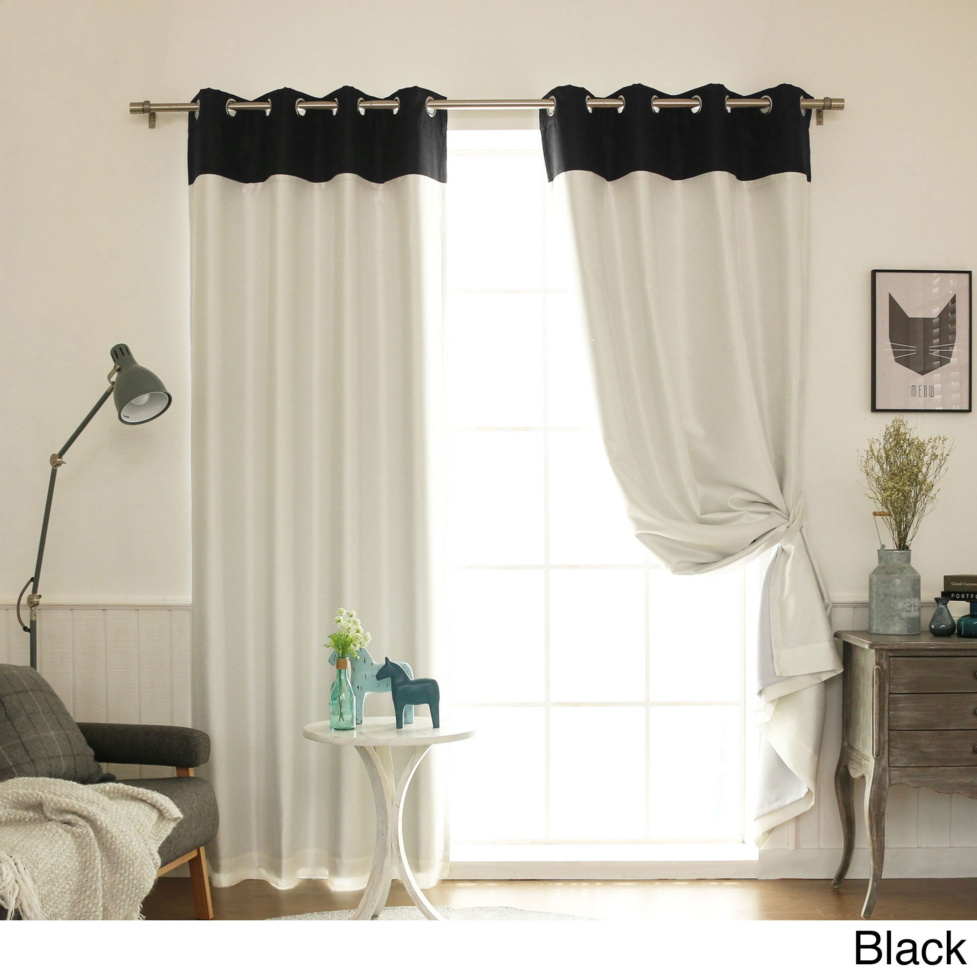 black pinch drape pleat drapery white pair and drapes p damask curtain darby