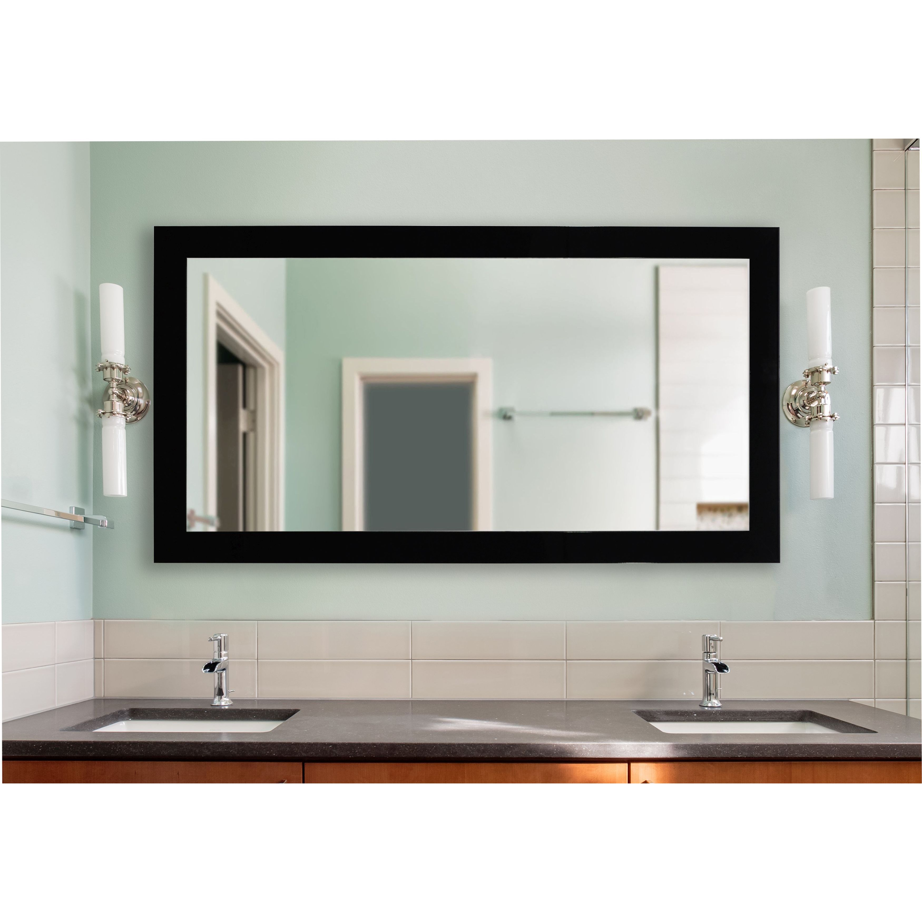 American Made Extra Large Delta Black Vanity Wall Mirror - Free ...
