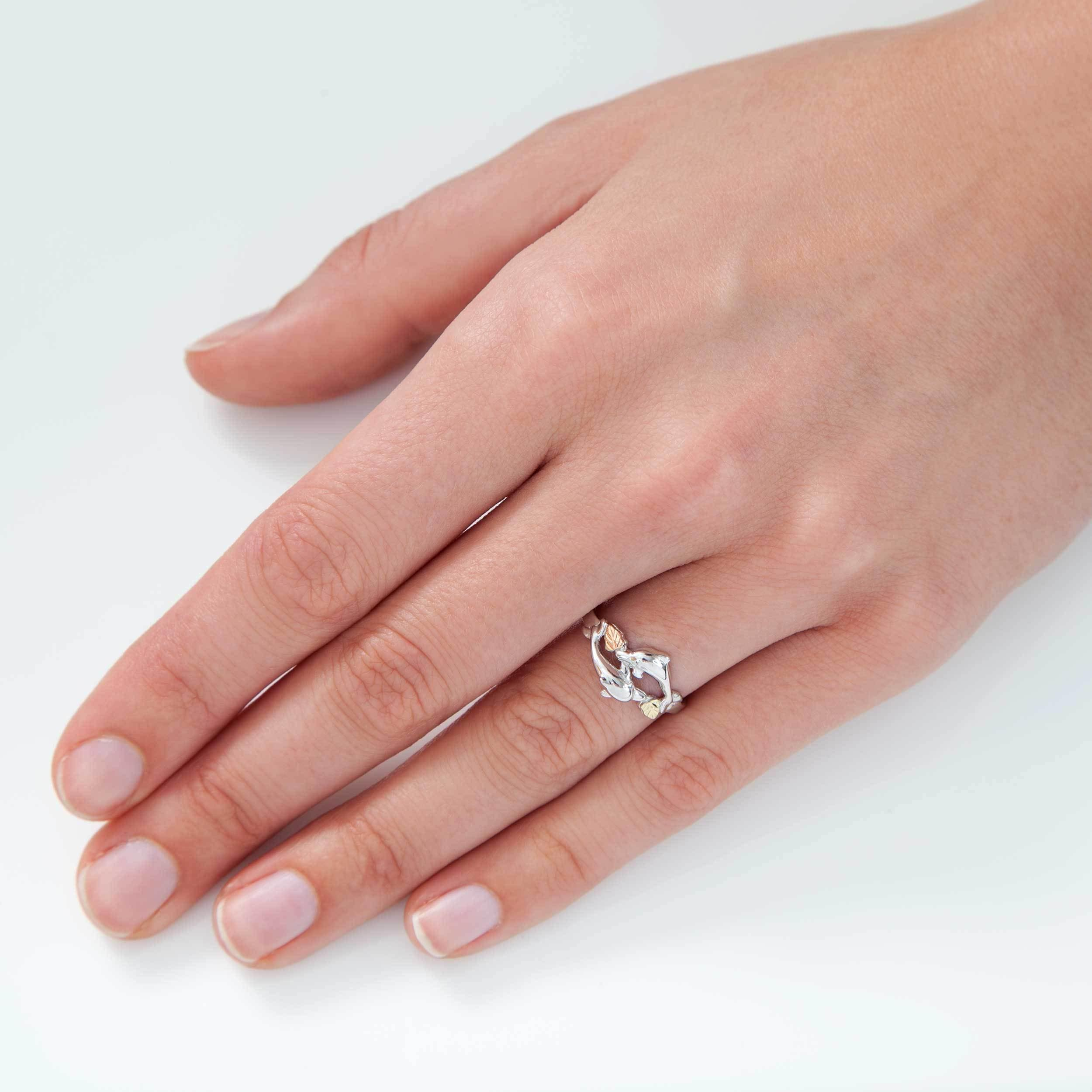Shop Black Hills Gold on Silver Double Dolphin Ring - Free Shipping ...