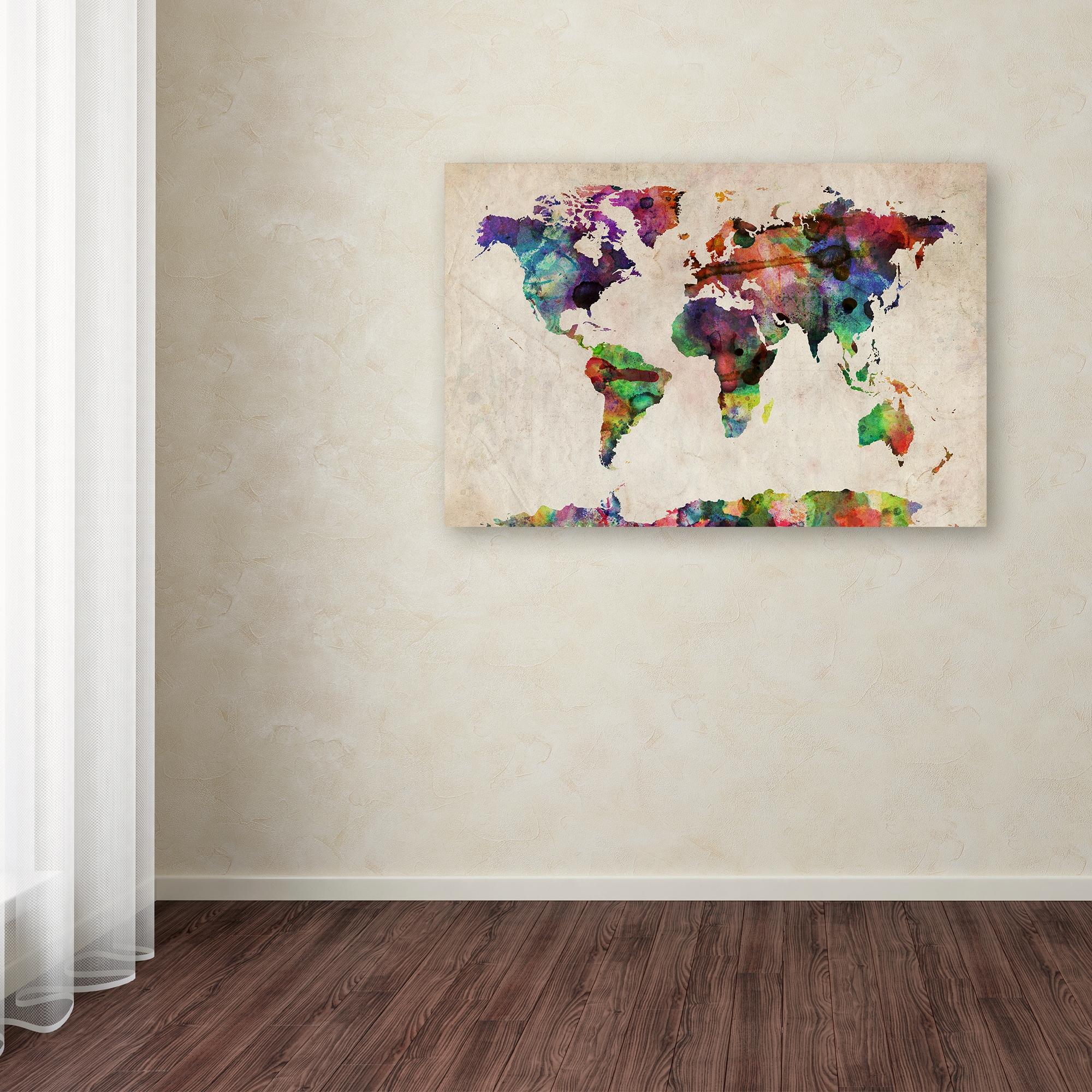 Urban Watercolor World Map.Shop Michael Tompsett Urban Watercolor World Map Canvas Wall Art