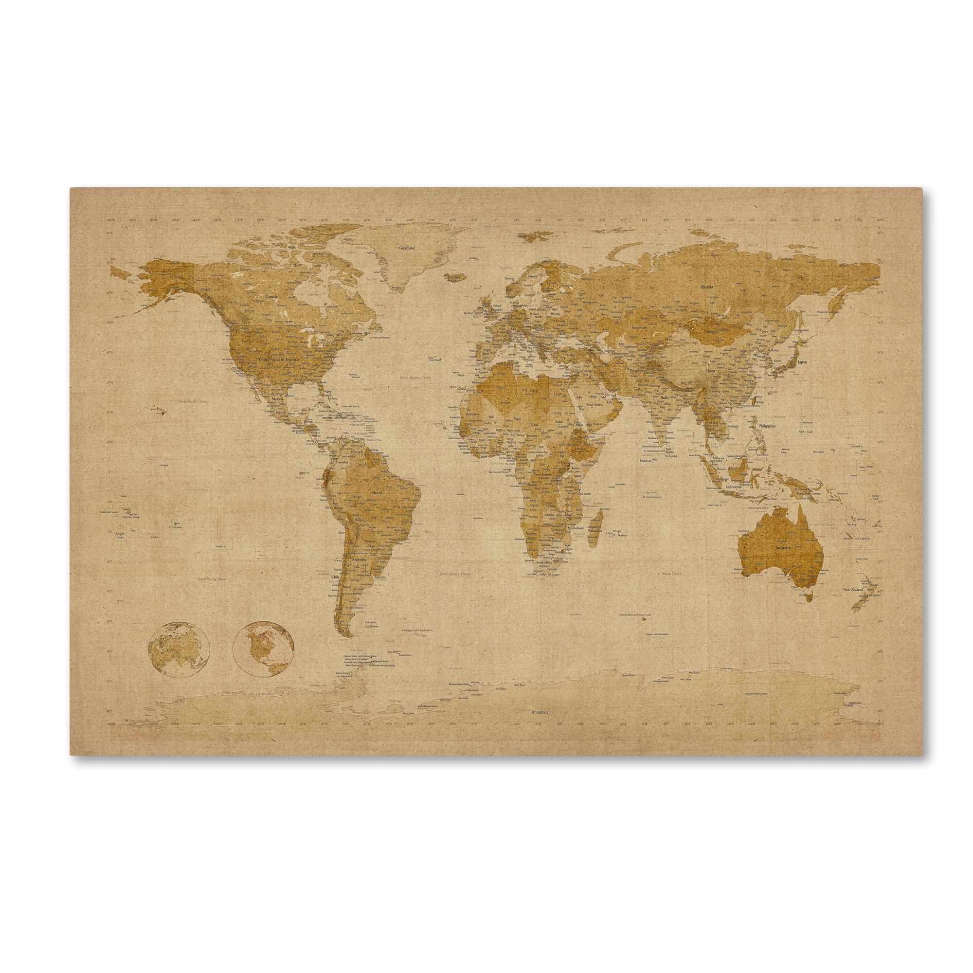 Shop Michael Tompsett \'Antique World Map\' Canvas Wall Art - On Sale ...