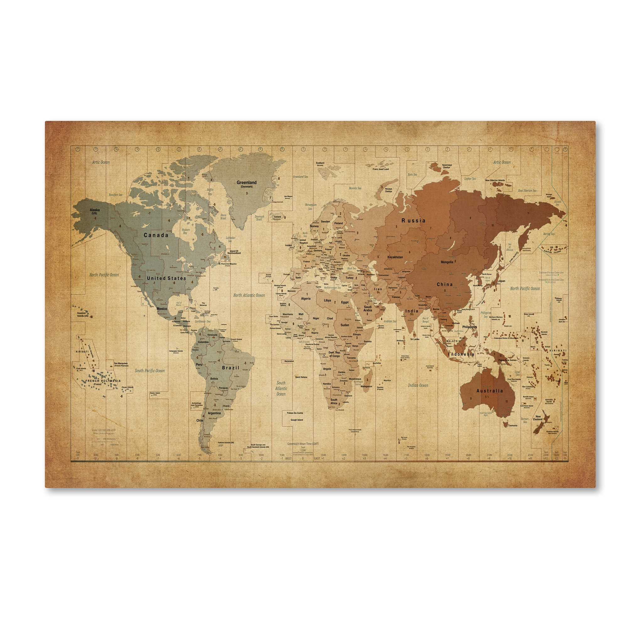 Shop Michael Tompsett \'Time Zones Map of the World\' Canvas Wall Art ...