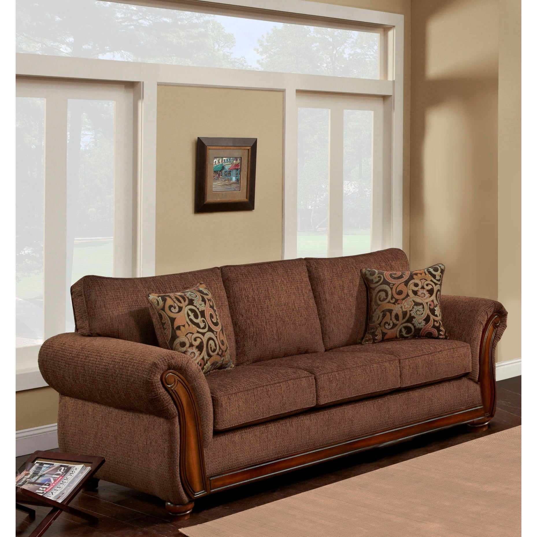 Sofa Trendz Beige Brown Microfiber Wood Tri tone