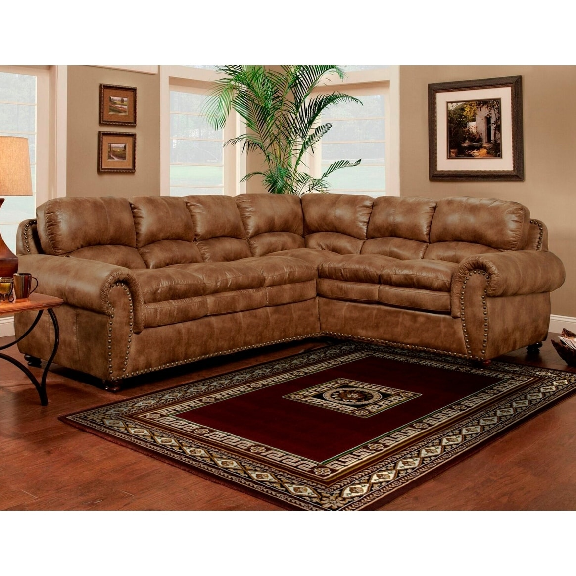 Ordinaire Shop Sofa Trendz Brown Synthetic Leather Air Sectional Sofa   Free Shipping  Today   Overstock.com   11964456