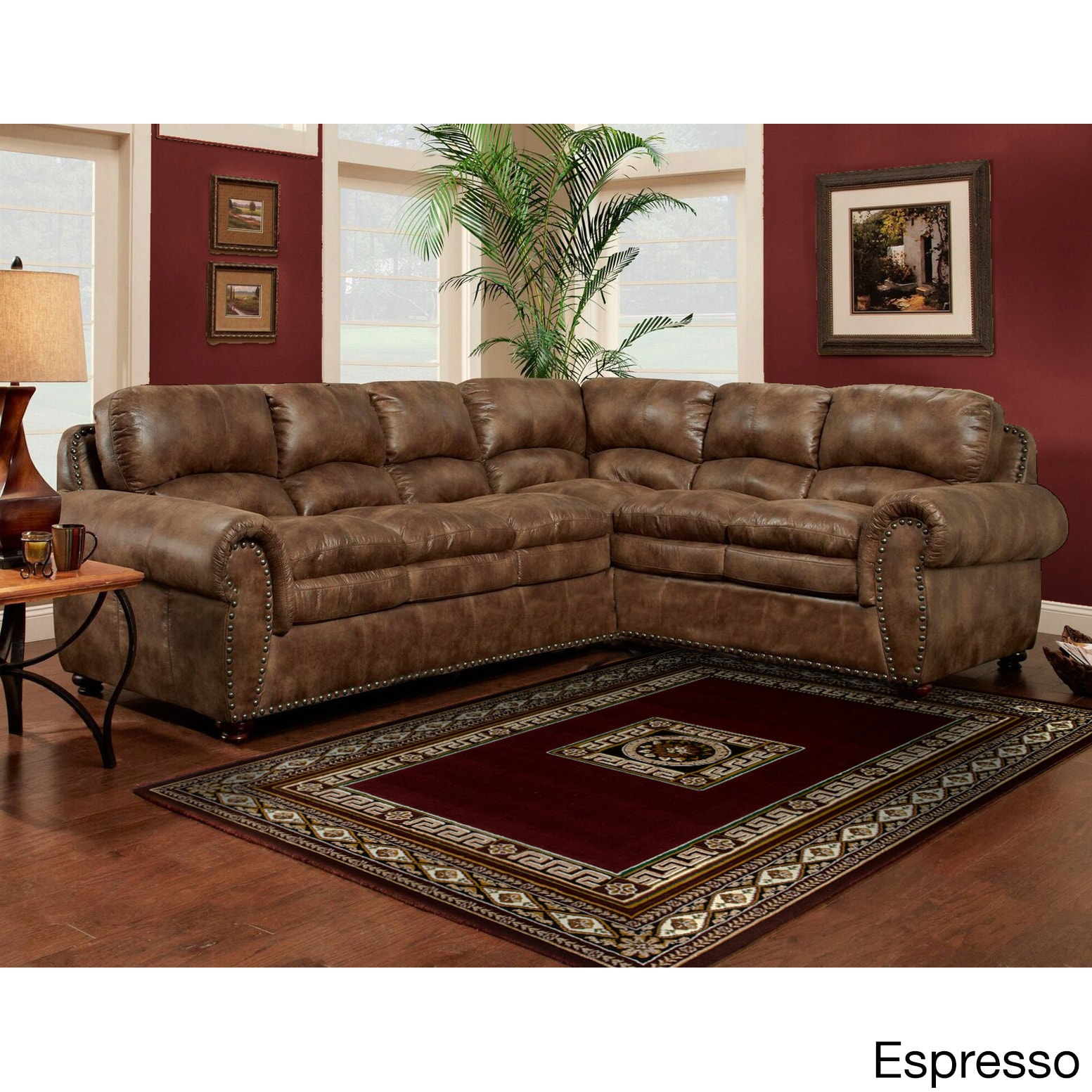 Sofa Trendz Brown Synthetic Leather Air Sectional Free Shipping Today 11964456