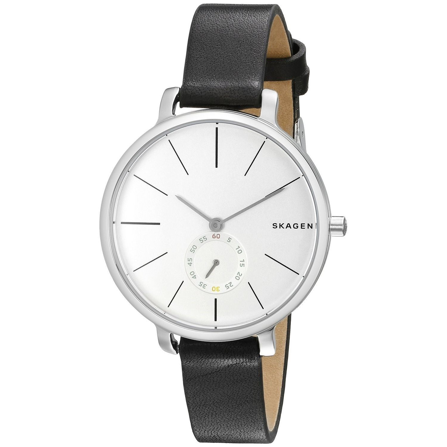 watch leather shipping box free watches skagen product hagen stainless s black strap steel brown overstock set jewelry today men mens