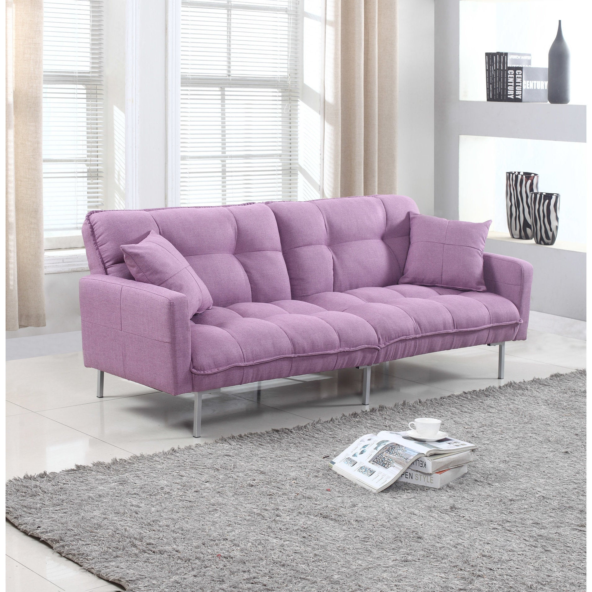 Modern Plush Tufted Linen Fabric Splitback Living Room Sleeper Futon Free Shipping Today Com 11967021