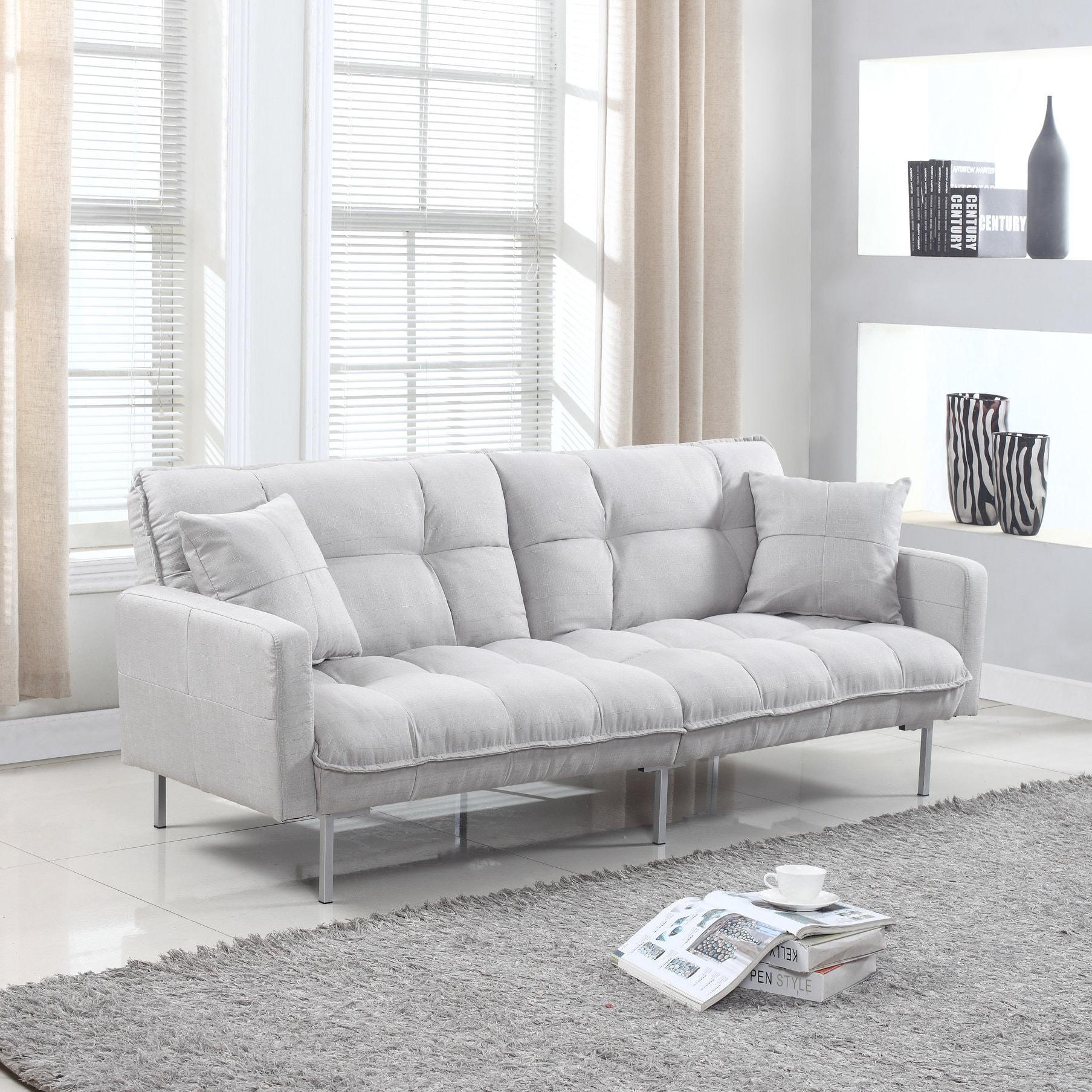 Modern Plush Tufted Linen Fabric Splitback Living Room Sleeper Futon ...