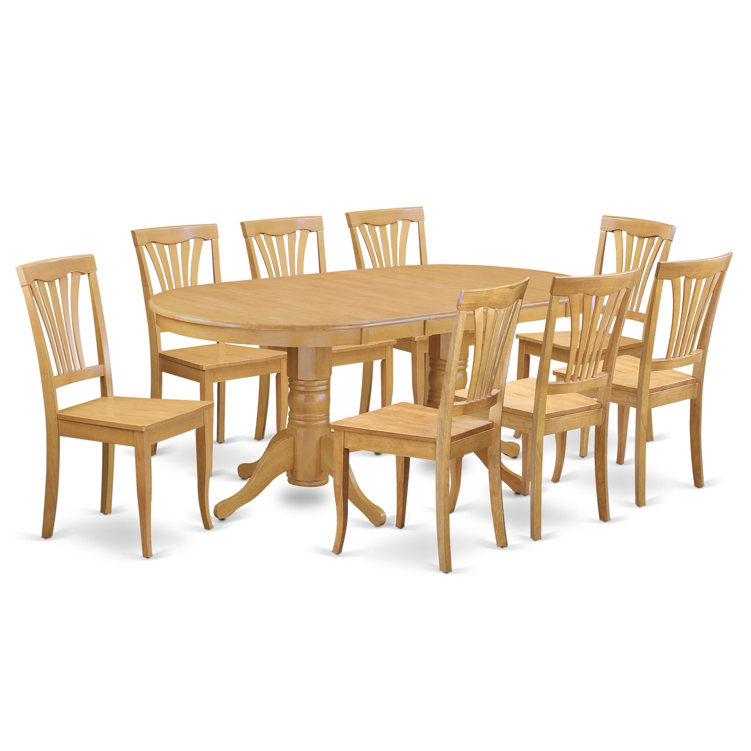 Vaav9 oak oak finish rubberwood dining table with leaf and 8 chairs