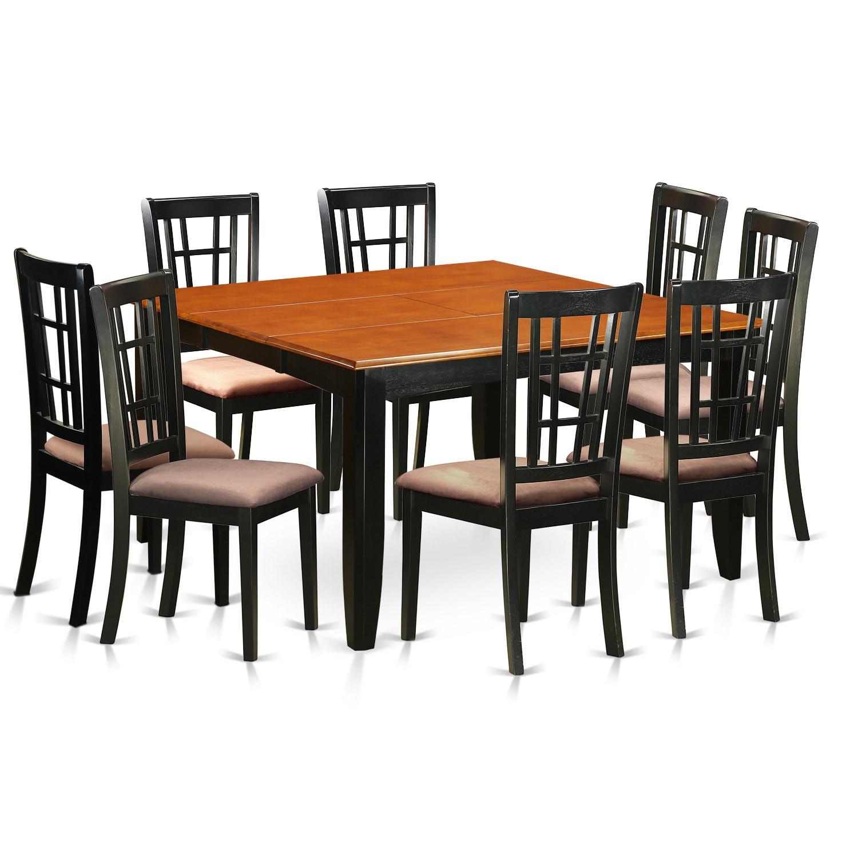 Pfni9 bch black brown rubberwood 9 piece dining room set