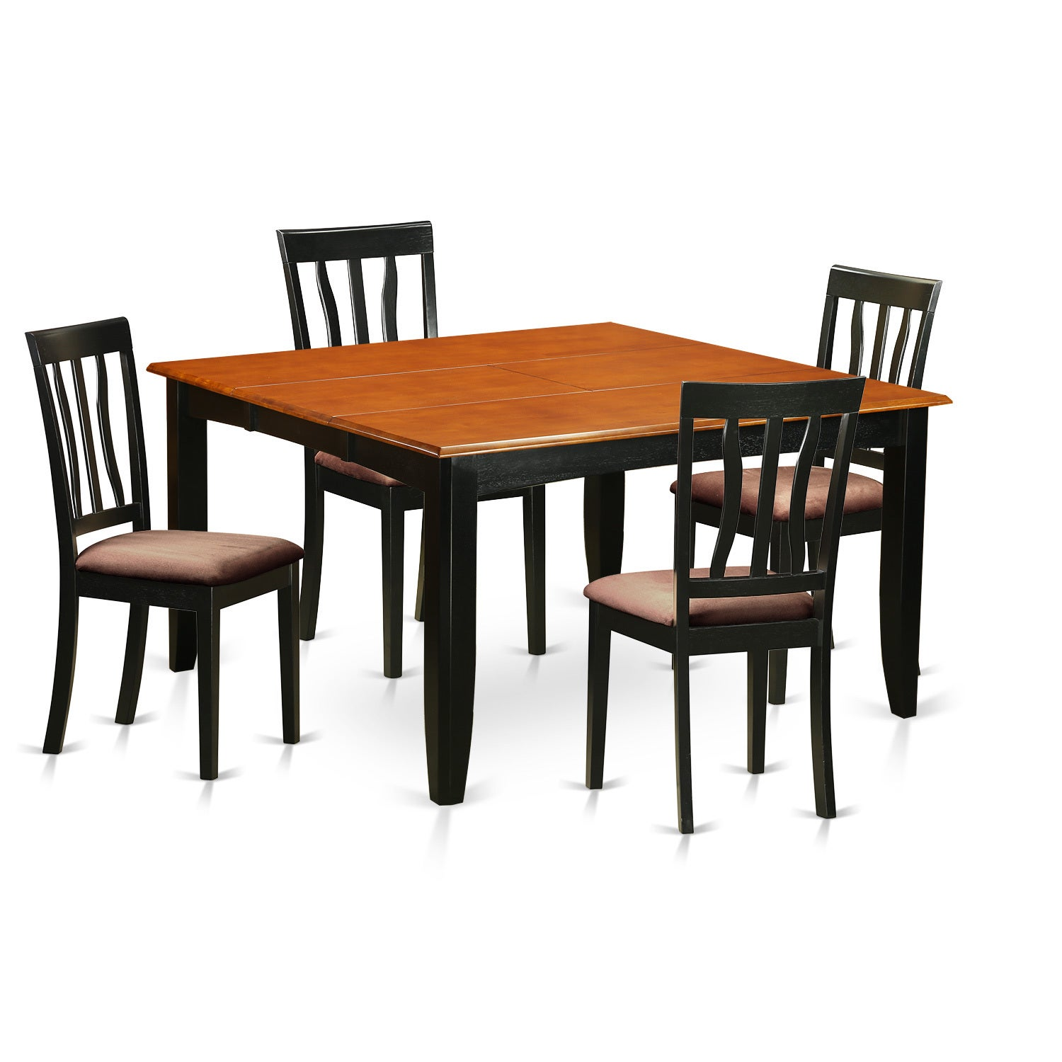 Shop Pfan5 Bch Black Cherry Rubberwood Kitchen Dining Table And 4