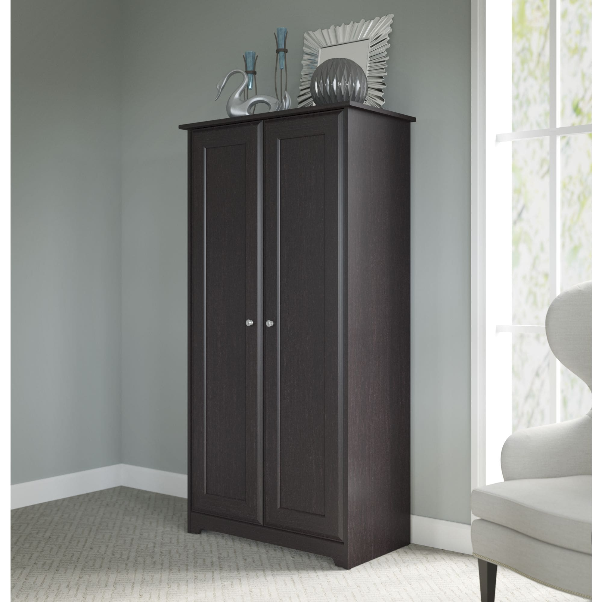 with furniture doors in cabinet by oak white product tall espresso gardner cabot from storage bush