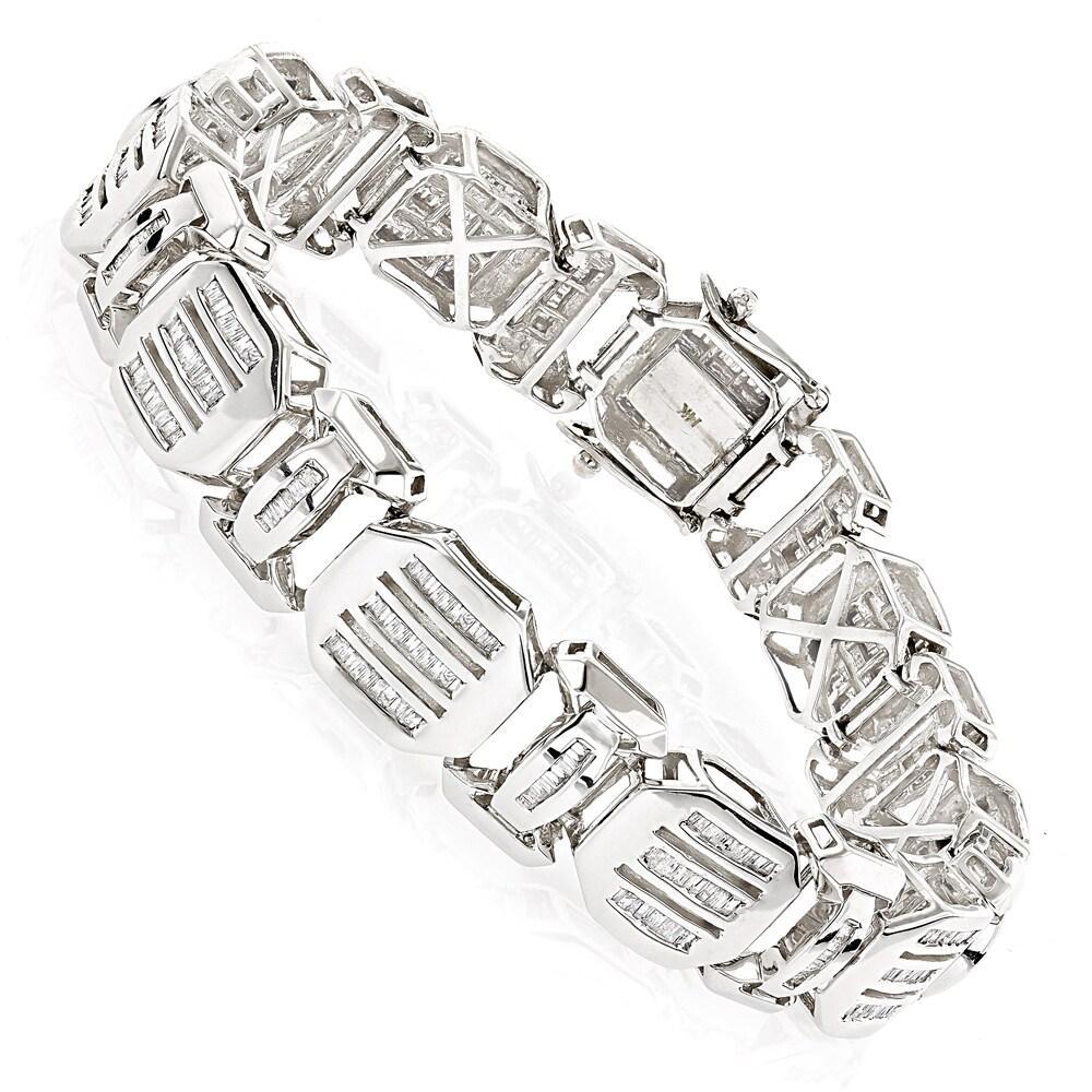 Luxurman 14k White Gold 7 1 2ct Tdw Mens Bracelets Diamond Baguette Bracelet Free Shipping Today 11968899