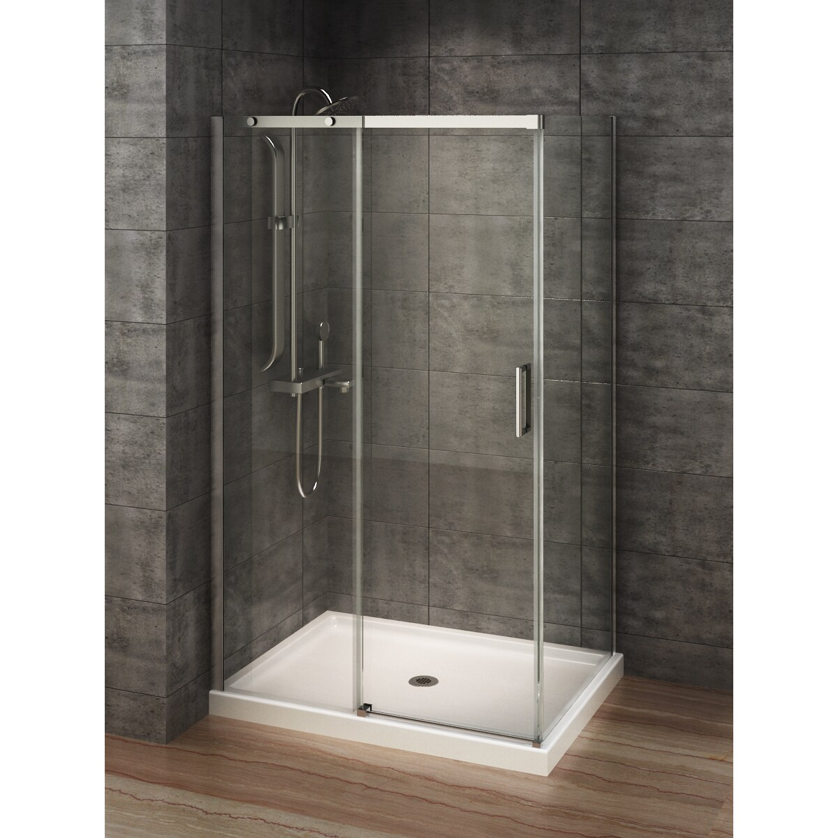 Shop Berlin Glass 48-inch x 32-inch Rectangular Corner Shower Stall ...