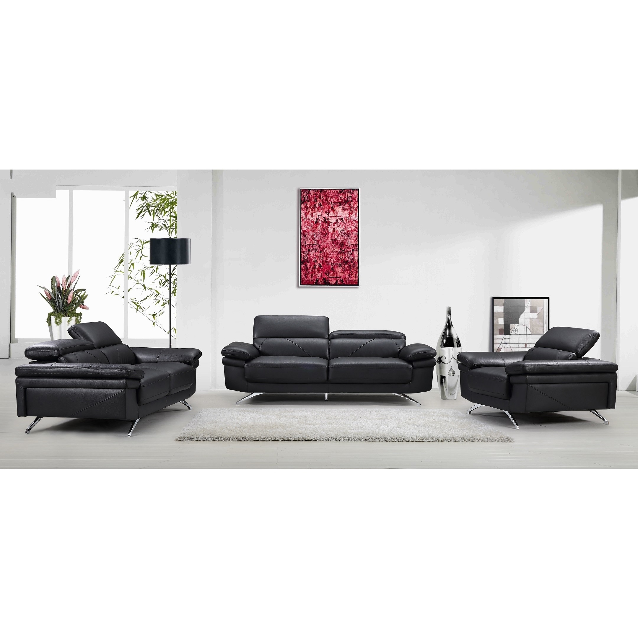 Madison Black Fabric/Faux-leather/Wood Sofa, Loveseat and Chair (3-piece  Set)