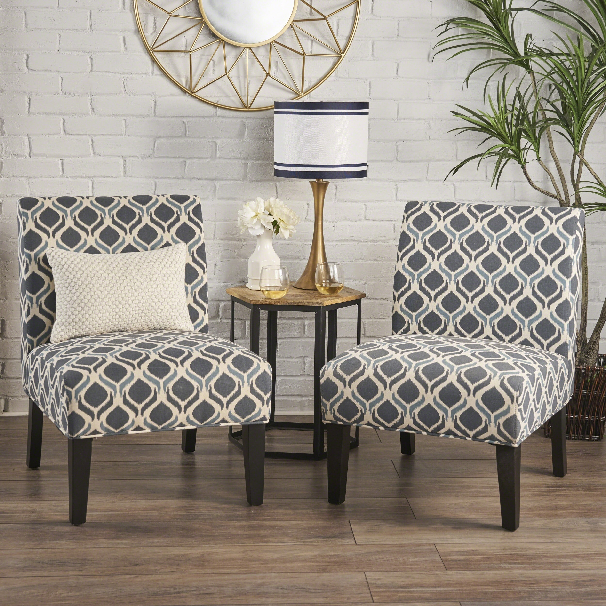 Accent Chairs.Saloon Fabric Print Accent Chair Set Of 2 By Christopher Knight Home