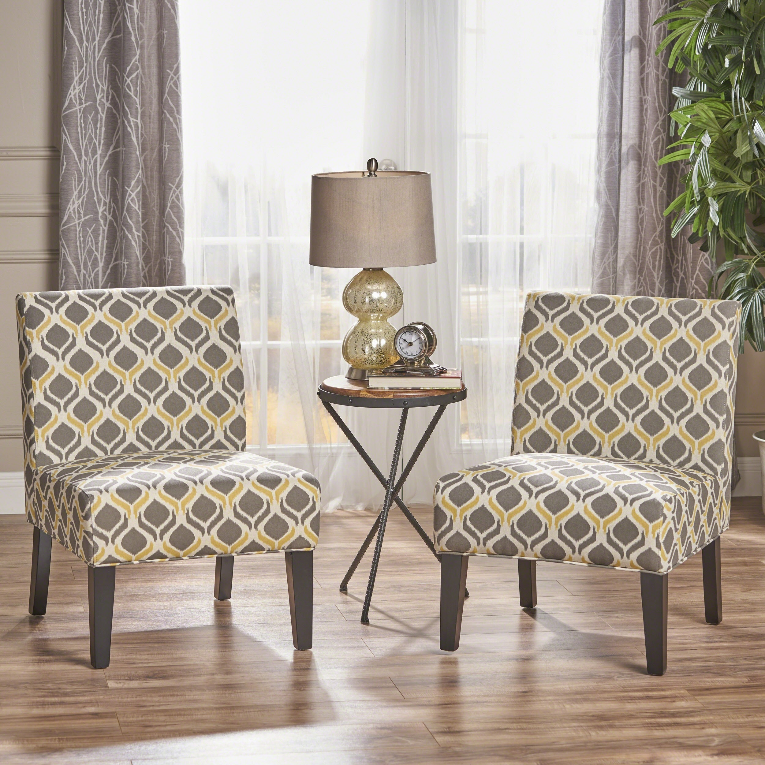 Shop saloon fabric print accent chair by christopher knight home set of 2 on sale free shipping today overstock com 11975810