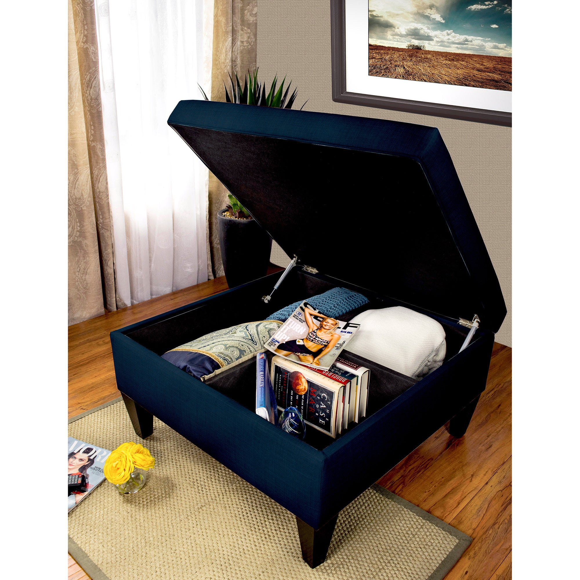 Delicieux Shop MJL Furniture Manhattan DAWSON 7 Espresso Wood/Polyester/Foam  Upholstered Organizational Cocktail Ottoman Table   On Sale   Free Shipping  Today ...