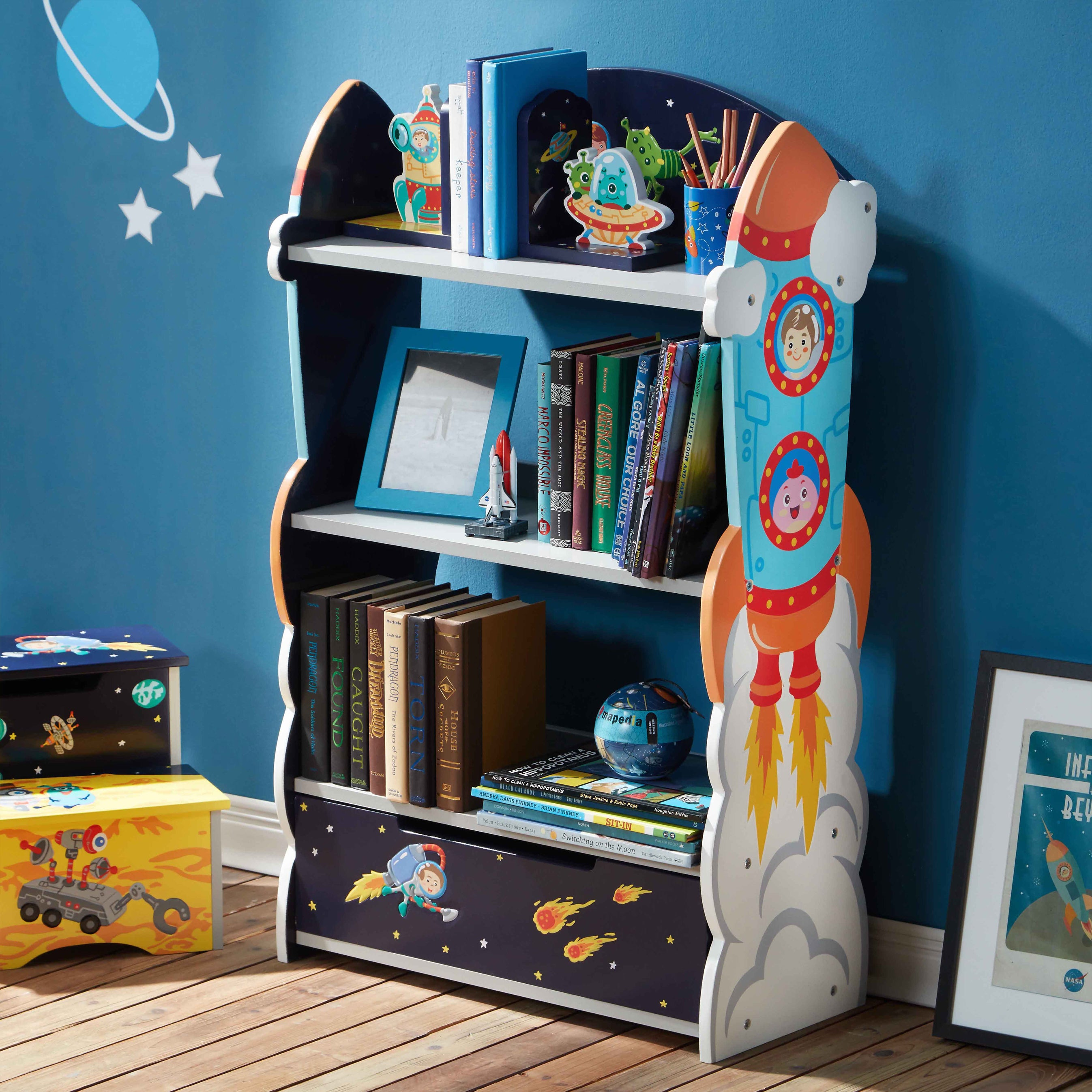 navy campaign bookshelf design cache new small harbor bookcase midnight mist wood baby blue home