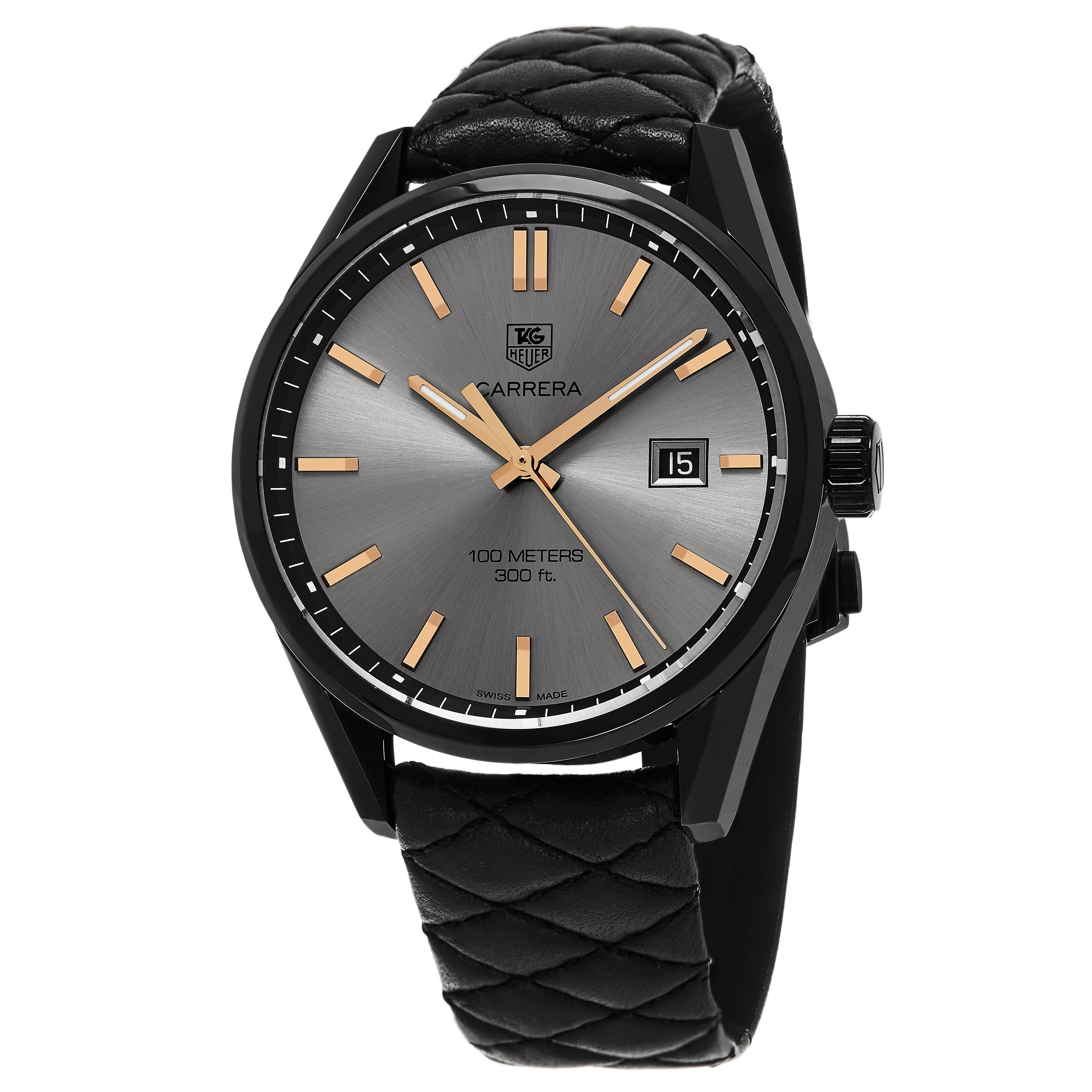 Shop Tag Heuer Womens Carrera Anthracite Dial Black Leather Strap Space Cara Delevingne Edition Swiss Quartz Watch Free Shipping Today