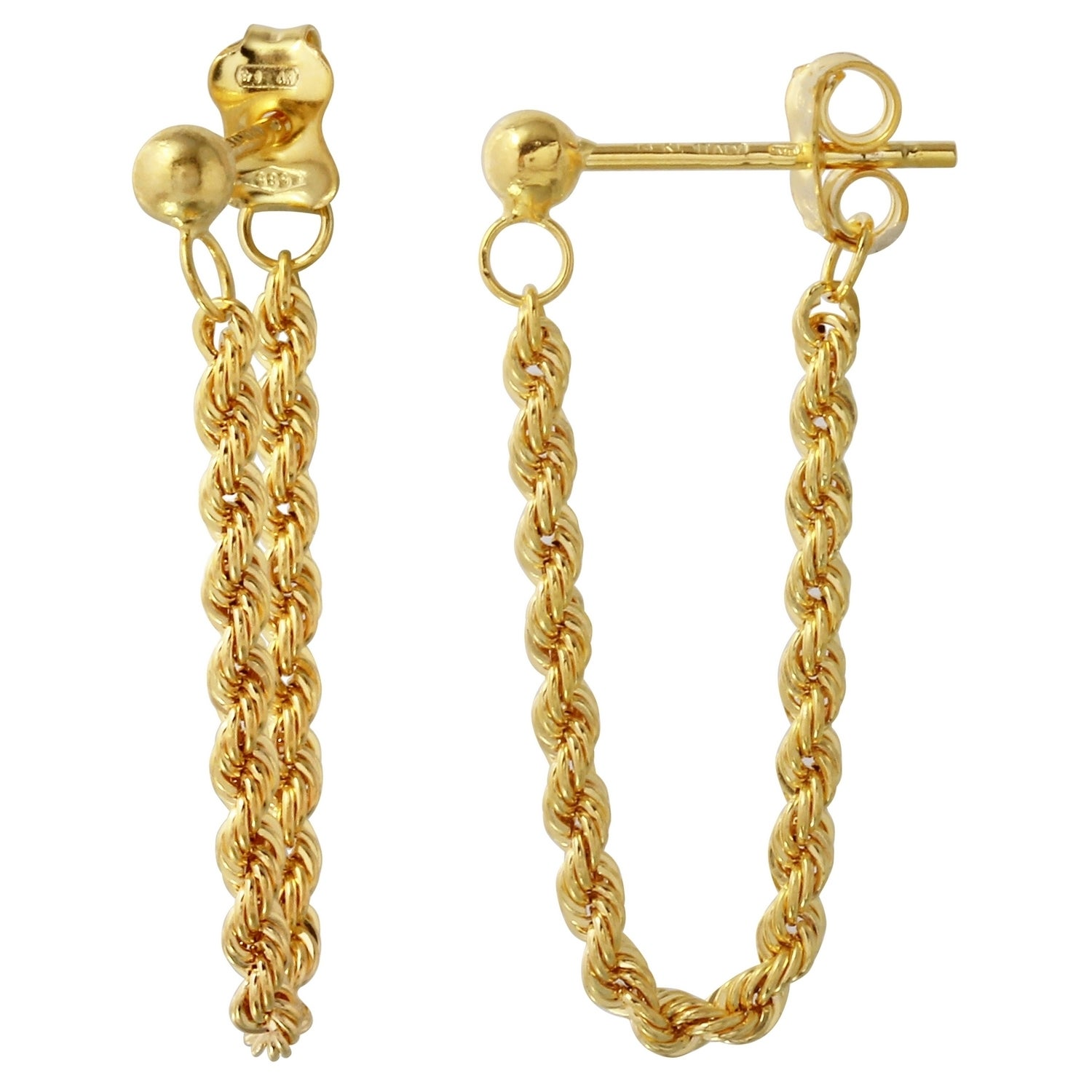 14k Italian Yellow Gold Dangling Rope Earrings Free Shipping Today 11977670