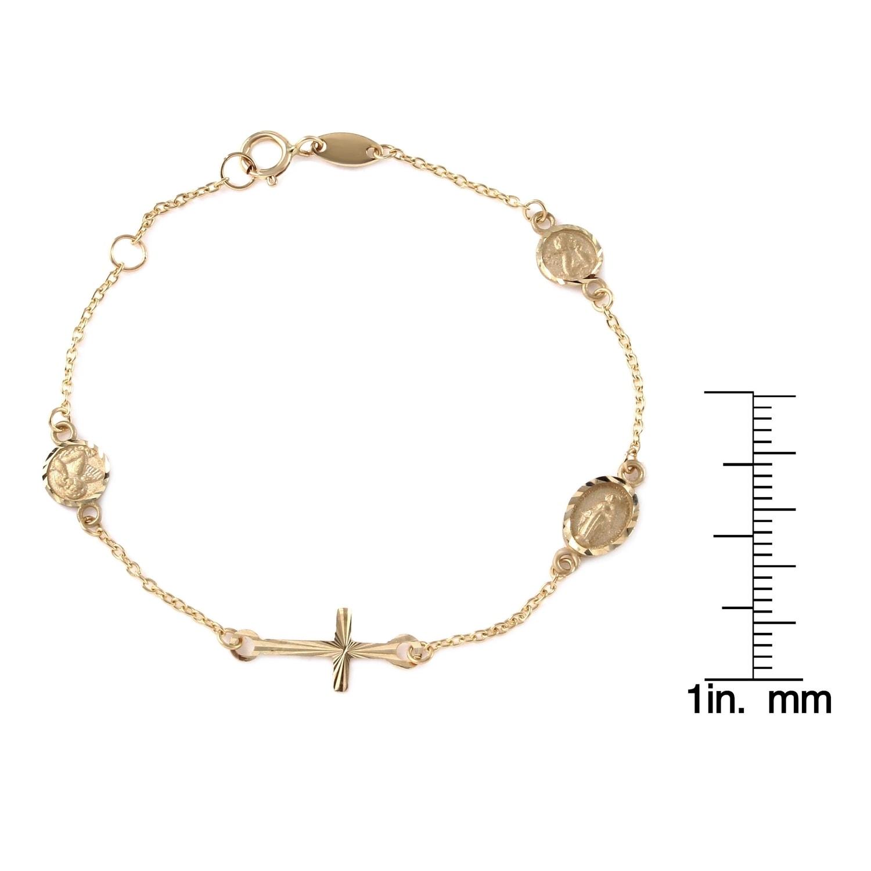 Girls\' 14k Yellow Gold Miraculous Medal, Angel, and Cross Bracelet ...