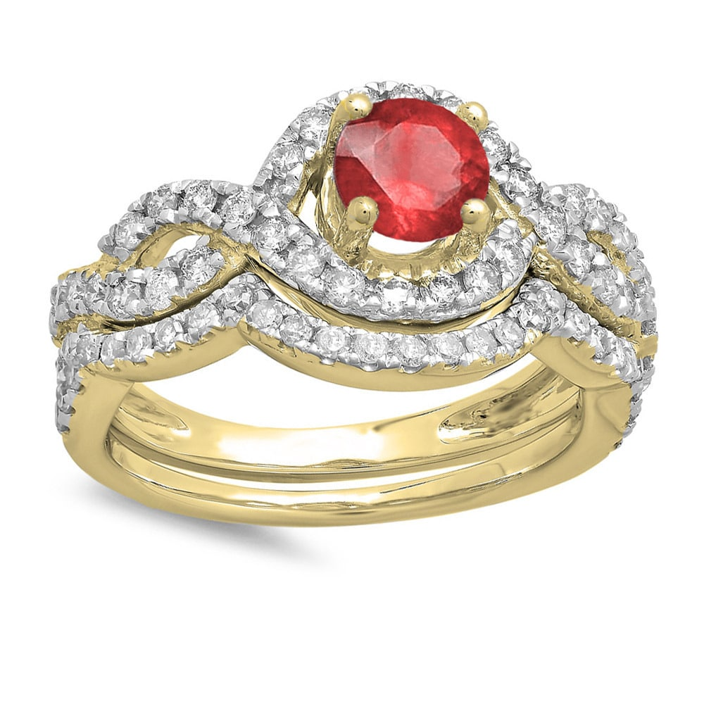 259741a22b Shop Elora 14K Gold 1 3/4 ct. Round Red Ruby & White Diamond Ladies Swirl Bridal  Halo Engagement Ring Set (H-I - Free Shipping Today - Overstock - 11978875
