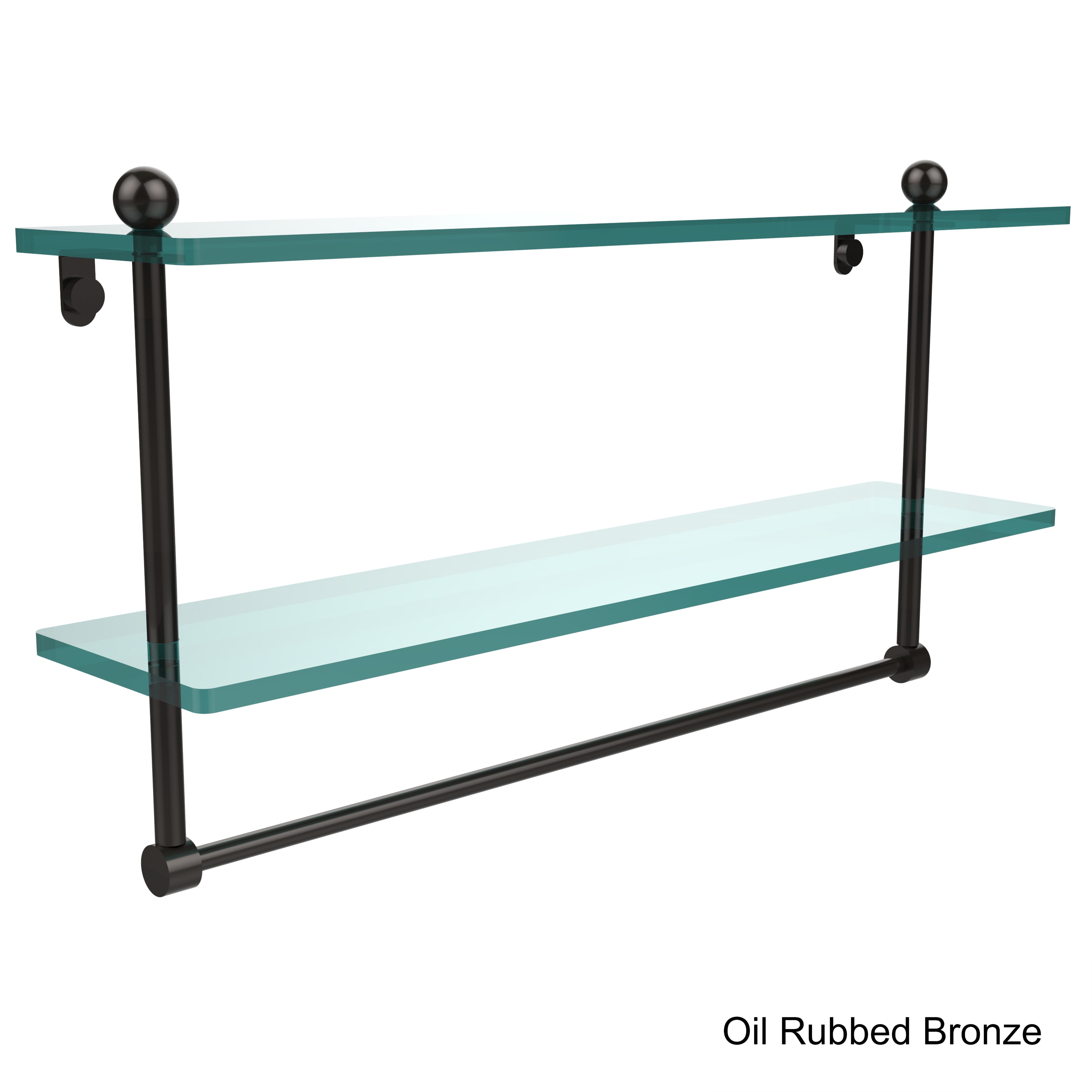 Shop Allied Brass Glass 22-inch Two-tiered Shelf With Integrated ...