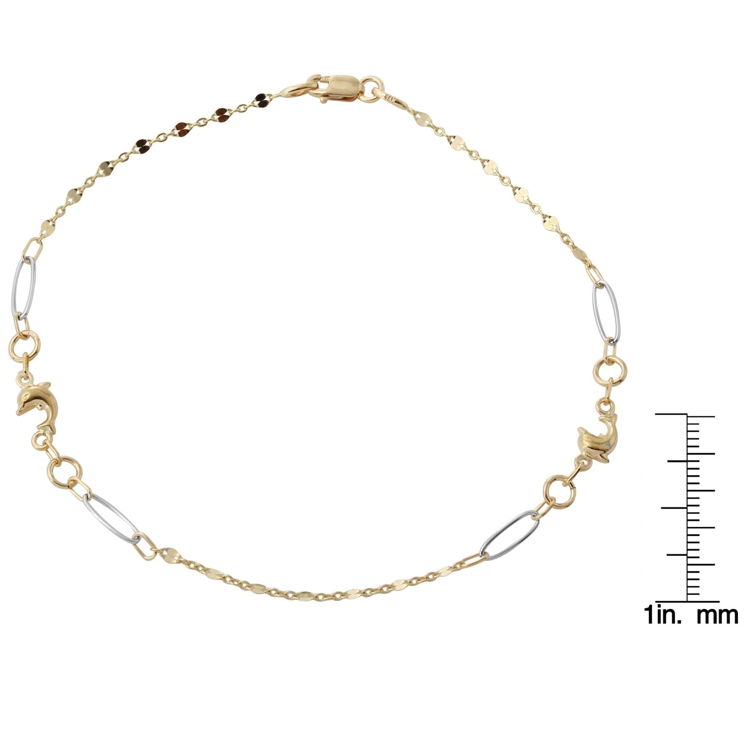 diamond chain cut anklet bracelet jewelry inch yellow amazon gold for com rope dp and solid women men