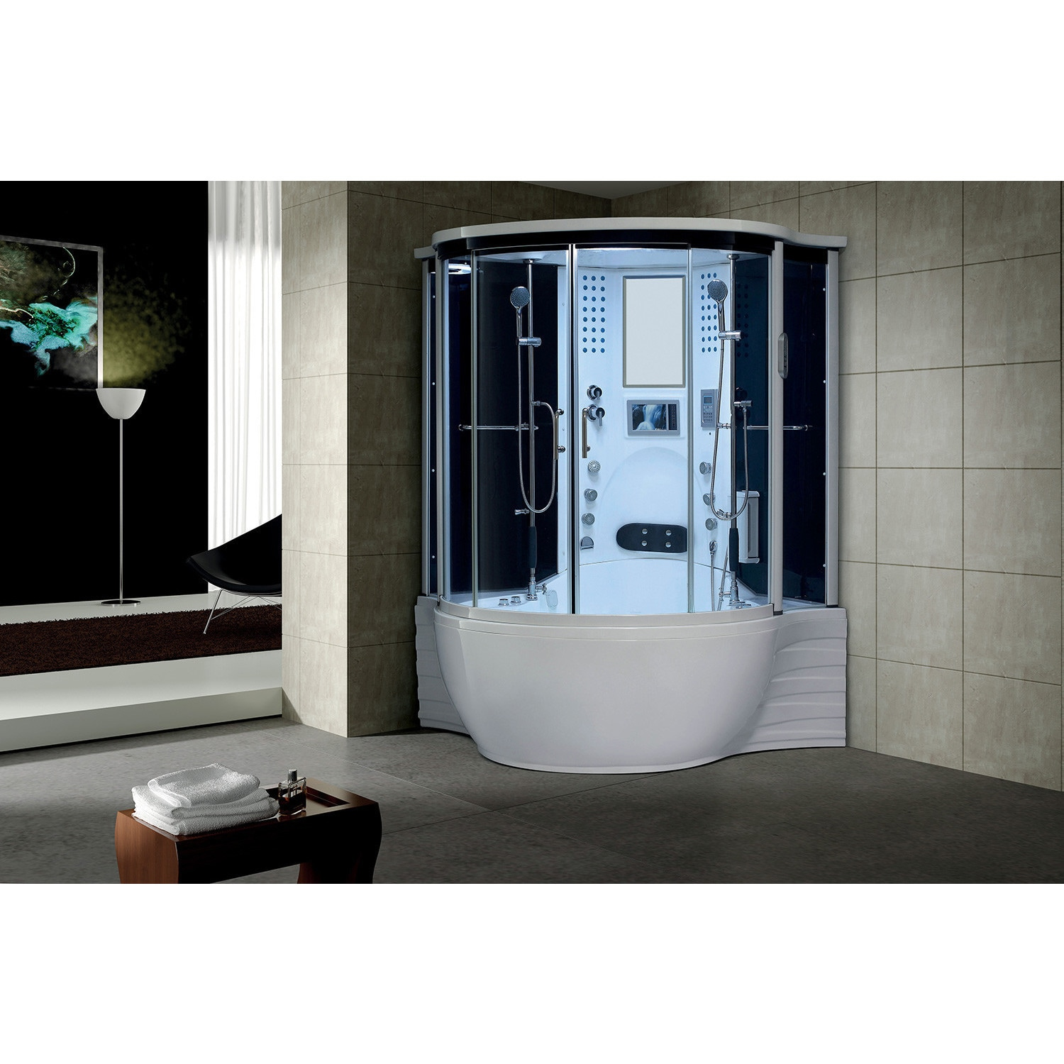 Florence Acrylic/Glass/Stainless Steel Steam Shower Sauna with Whirlpool  Massage Bathtub - Free Shipping Today - Overstock.com - 18863788