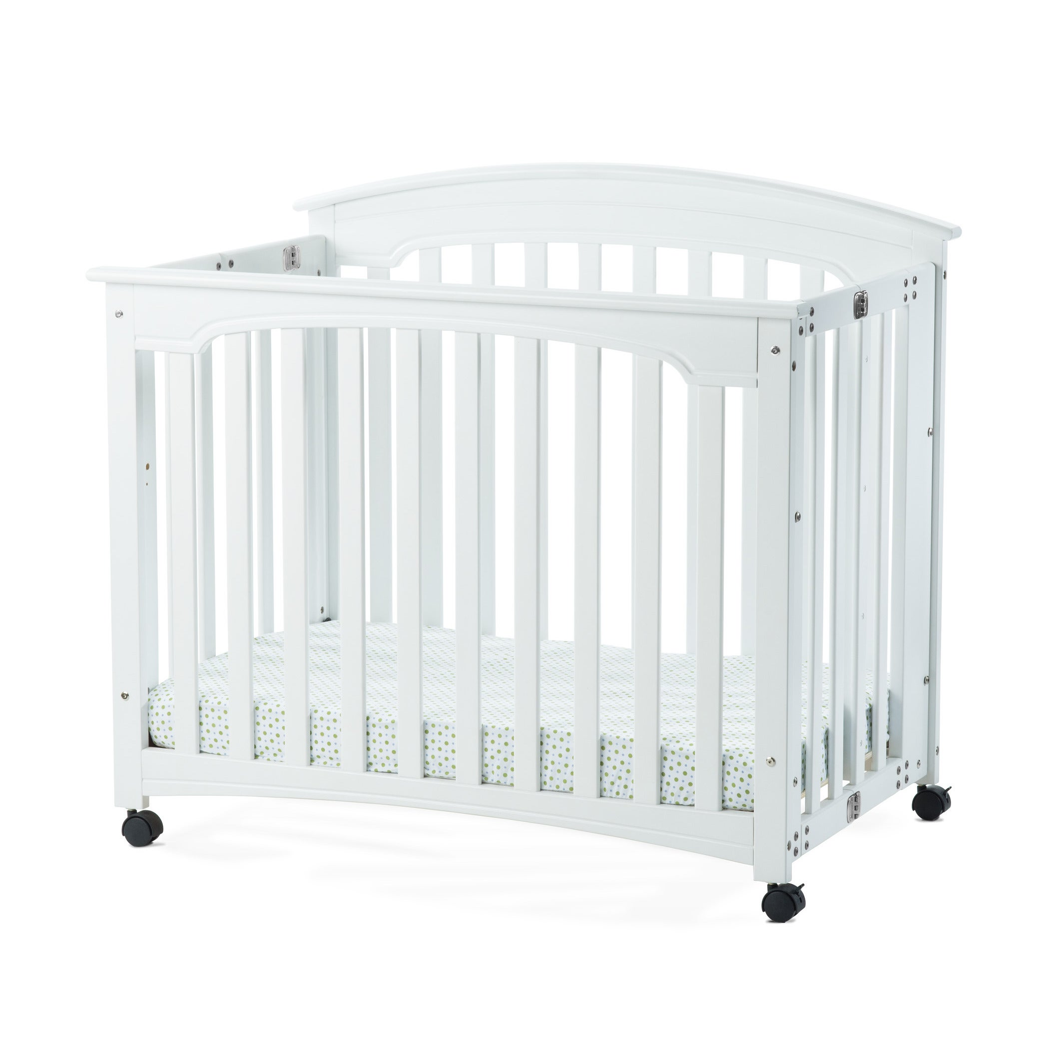 tian two portable davinci white orbelle origami rocking alpha baby level crib in mini raw