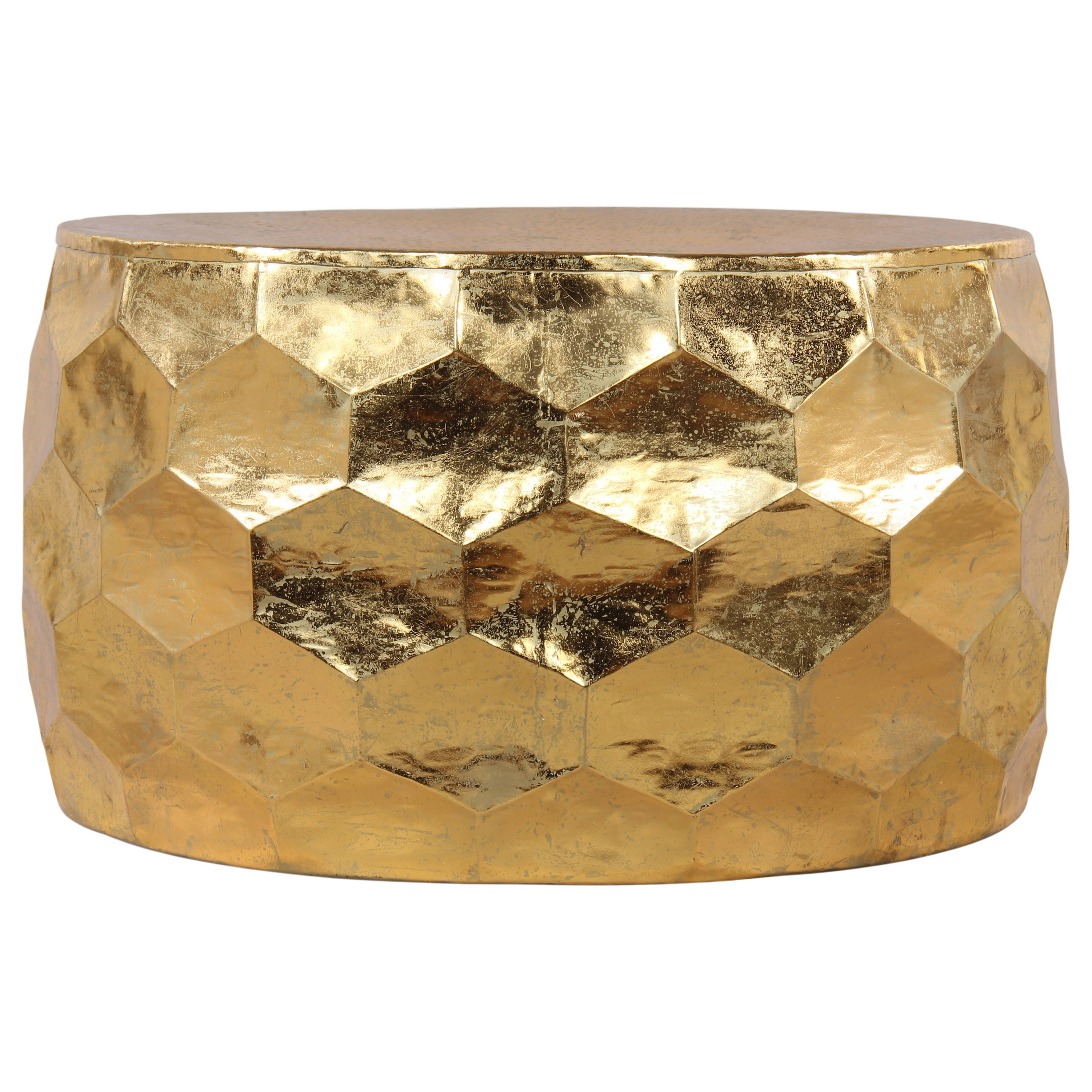 Charmant Gemoratic Hammered Gold Leaf Metal Coffee Table
