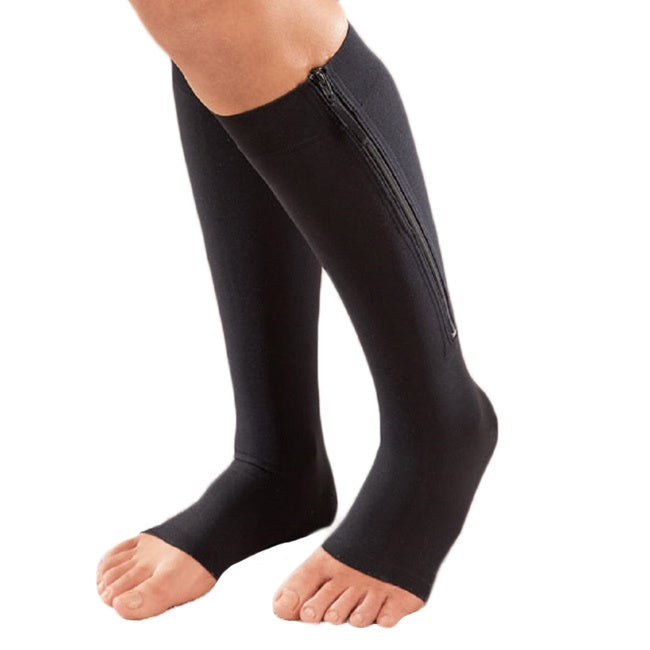 16d9bb4137 Shop Extreme Fit Black/Nude Nylon/Spandex Open Toe Zipper Compression Socks  (Pack of 2) - Free Shipping On Orders Over $45 - Overstock - 11985764