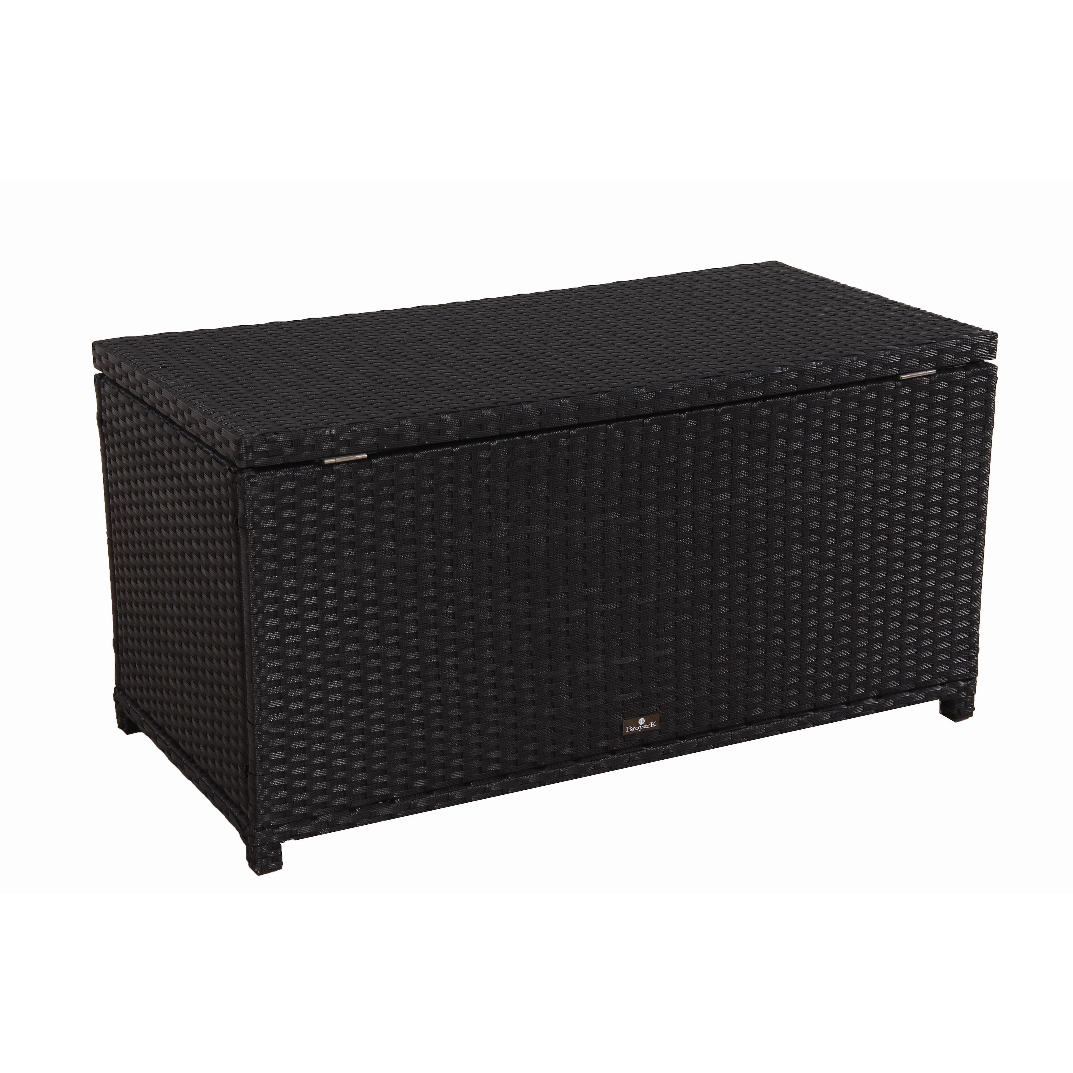 BroyerK Outdoor Black Wicker Storage Cushion Box