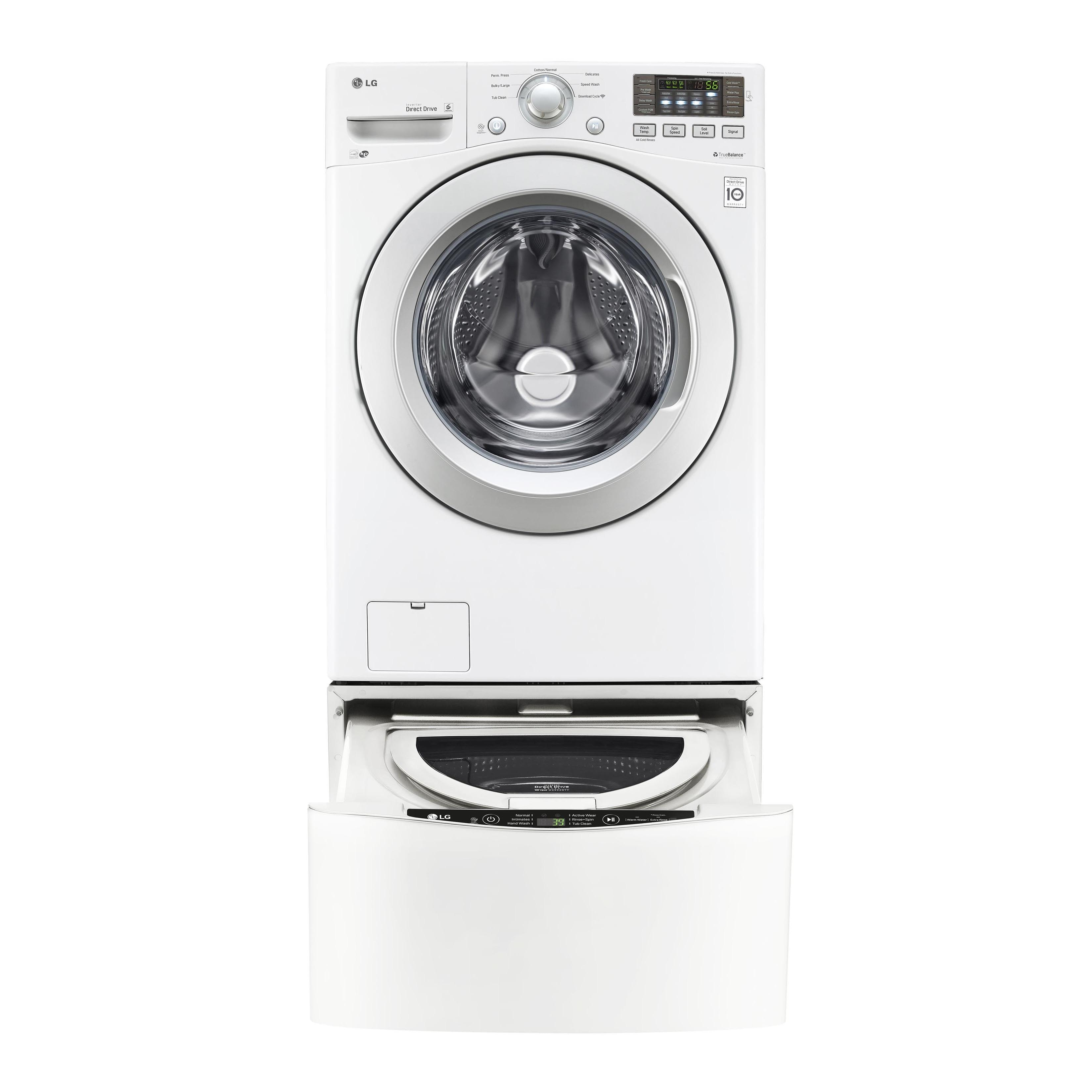 LG White Stainless Steel 4 3-cubic-foot Ultra-large Capacity Washer with  NFC Tag On Technology
