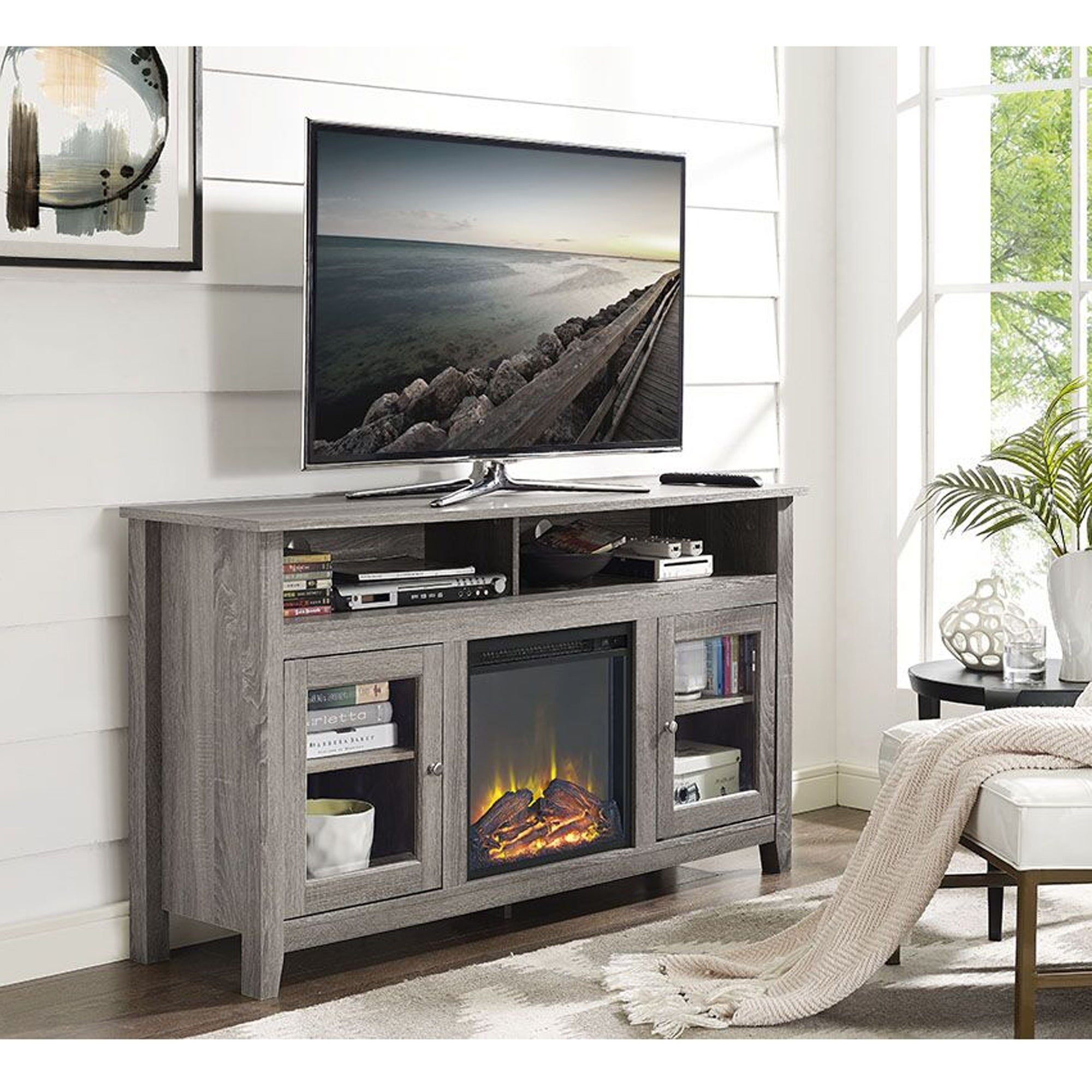 Shop 58 Inch Driftwood Highboy Fireplace TV Stand   On Sale   Free Shipping  Today   Overstock.com   11989979