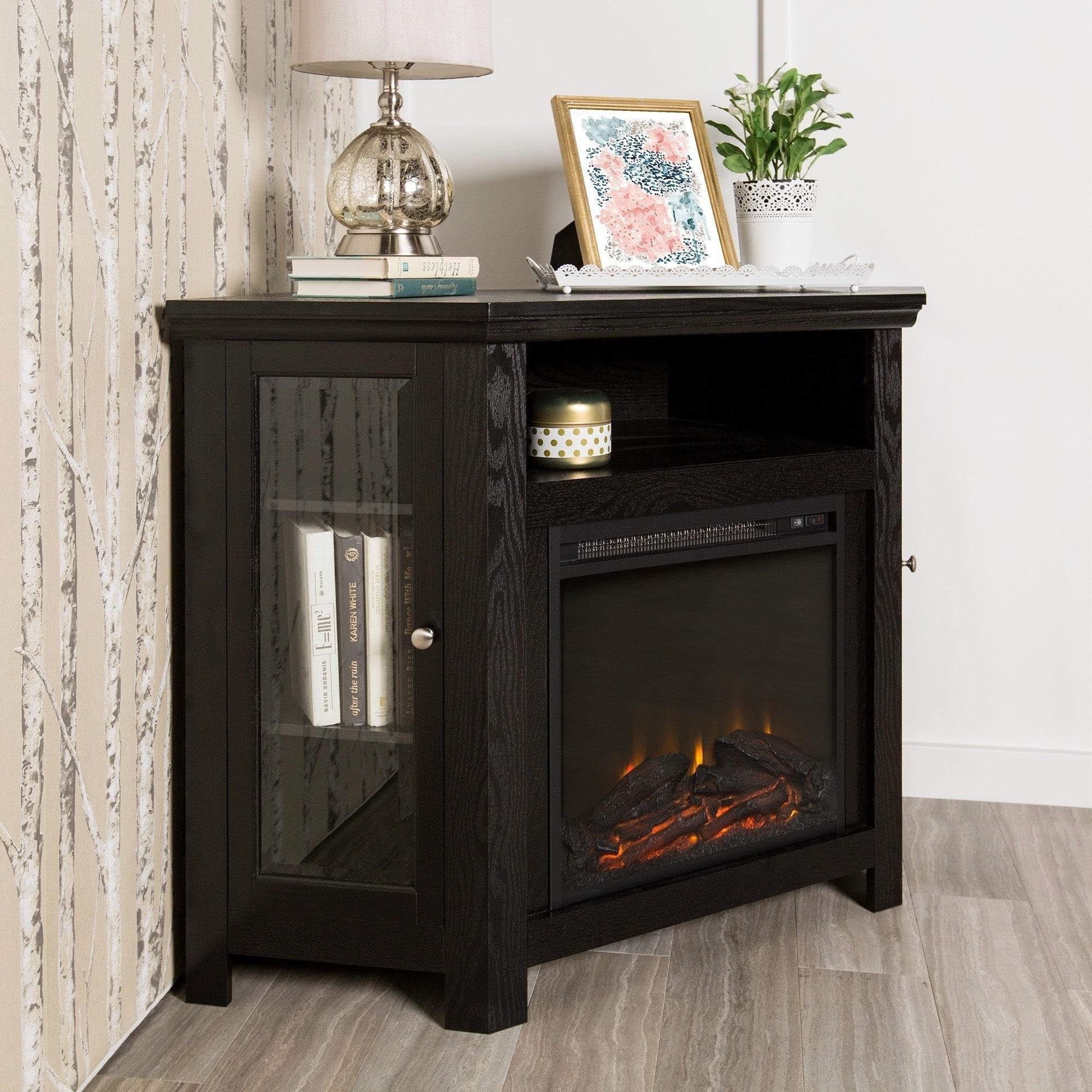 Shop 48 Corner Fireplace Tv Stand Console Black 48 X 20 X 32h