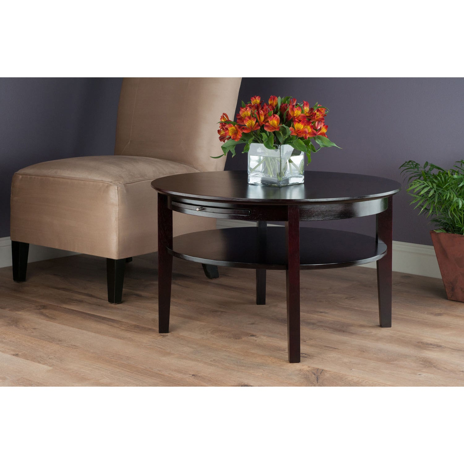 Shop Winsome Amelia Espresso Wood Round Storage Coffee Table With Pull Out  Tray   Free Shipping Today   Overstock.com   11990775