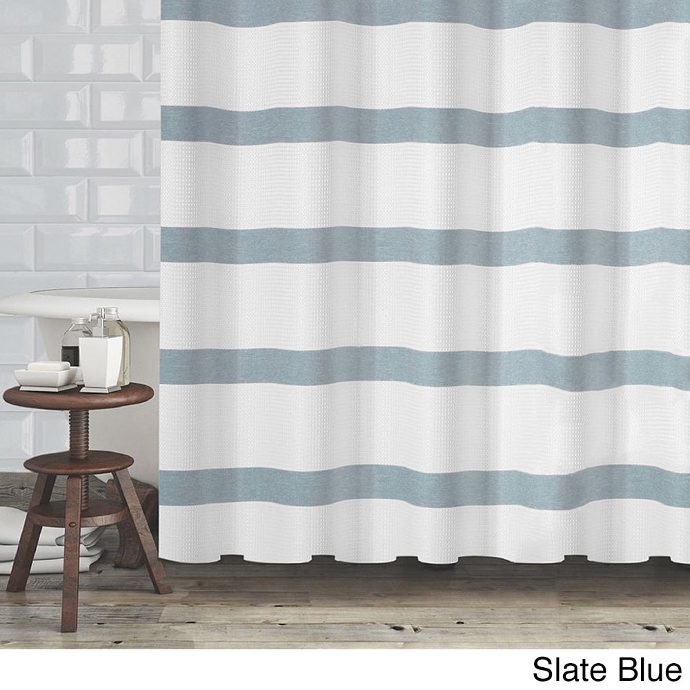 Hotel Quality Waffle Weave Stripe Fabric Shower Curtain 70x72