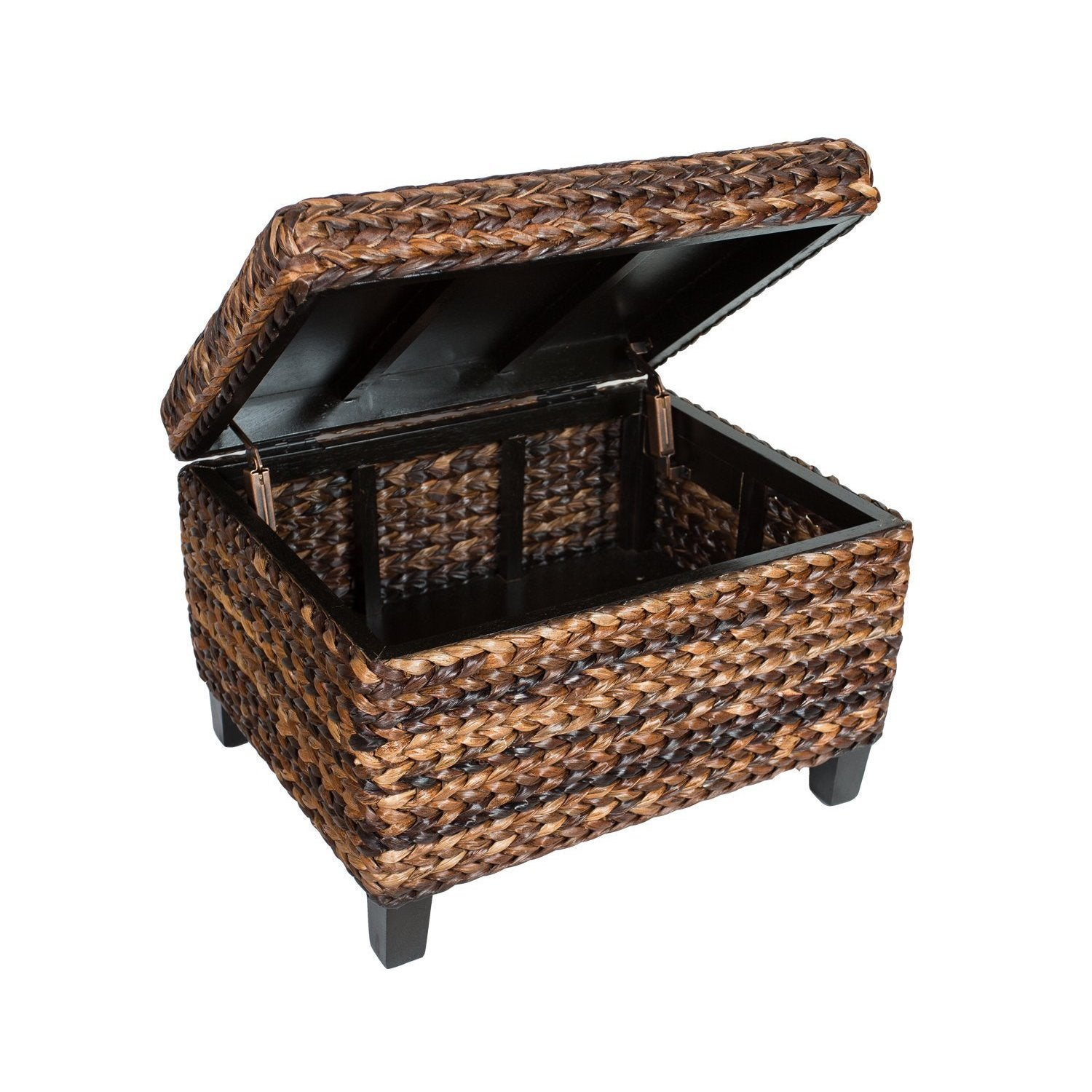 Shop BirdRock Home Espresso/Honey Seagrass Rattan Woven Storage Ottoman    Free Shipping Today   Overstock.com   11991969