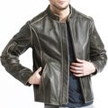 Men's Brown Distressed Leather Moto Biker Jacket