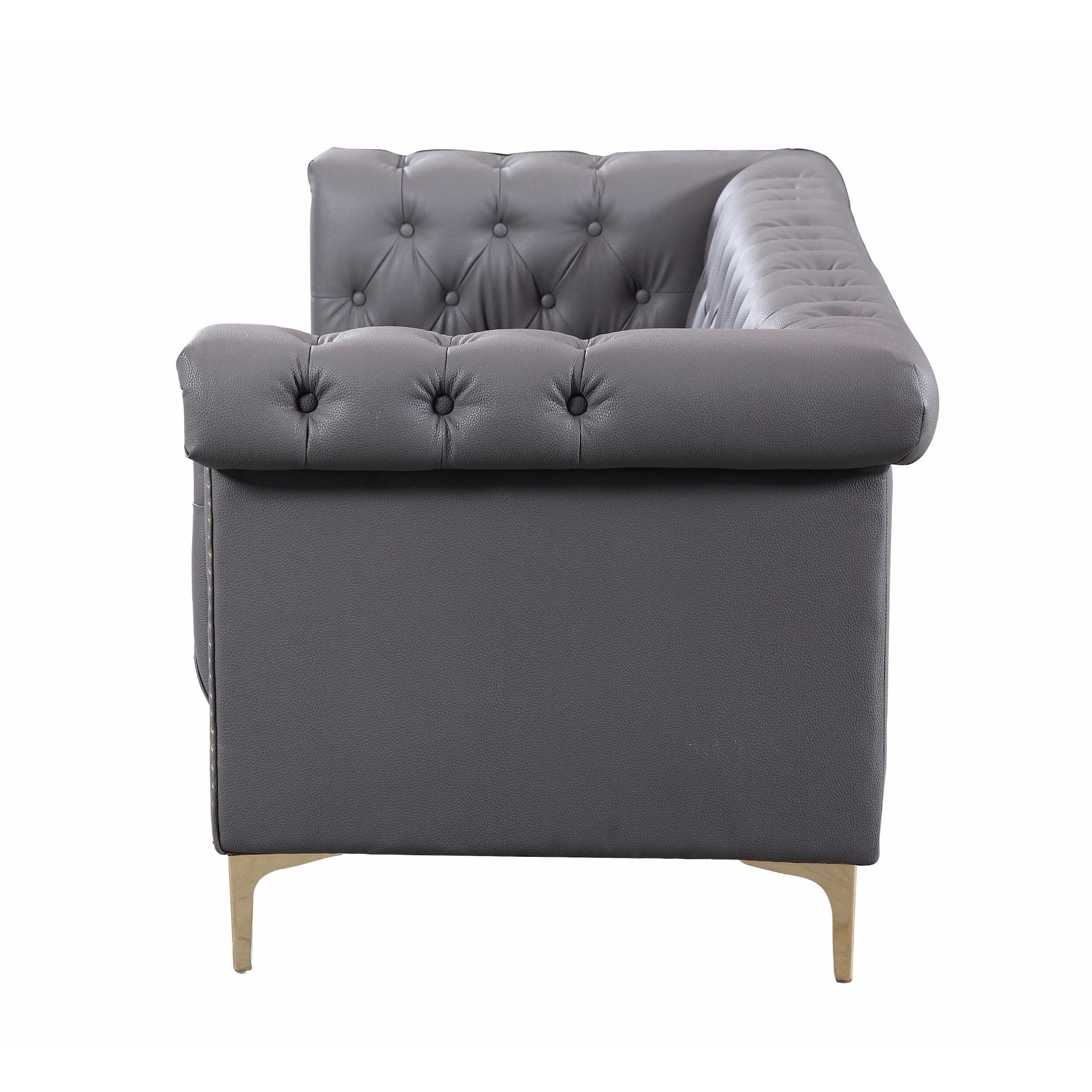 Chic Home Winston Gold Nailhead Trim Button Tufted Pu Leather Sofa  ~ Black Leather Sofa Chair