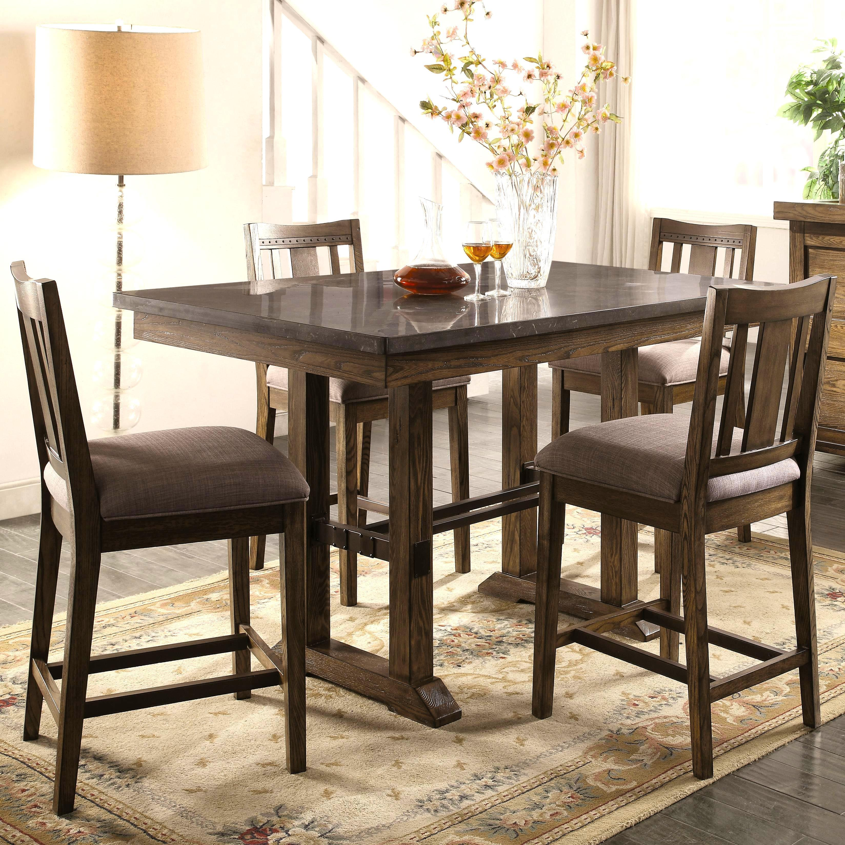 Architectural Industrial Rustic Design Counter Height Dining Set