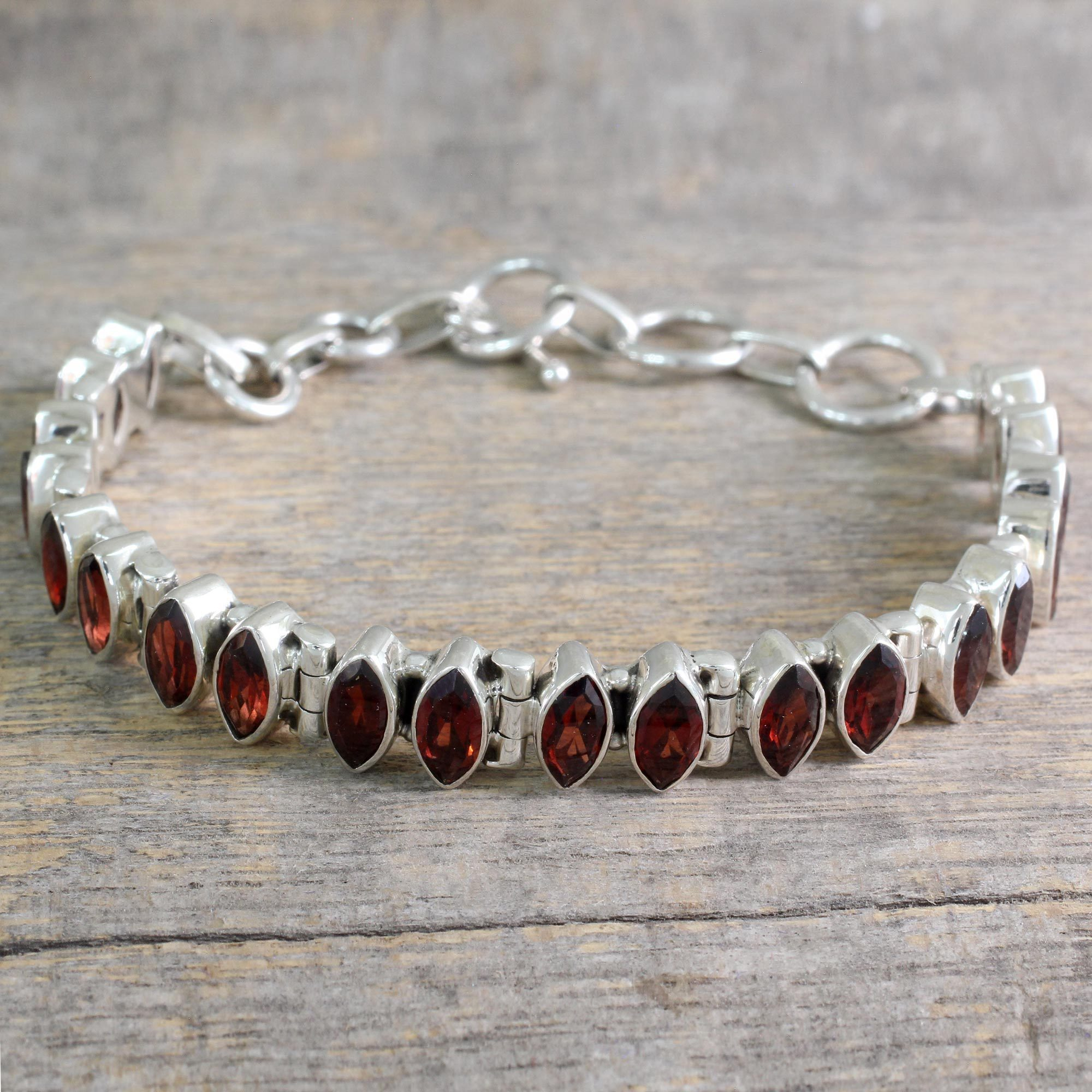 for bracelets women in chain octagon from silver sterling item garnet bracelet red bangles plated jewelry fine mobuy rose gemstone gold