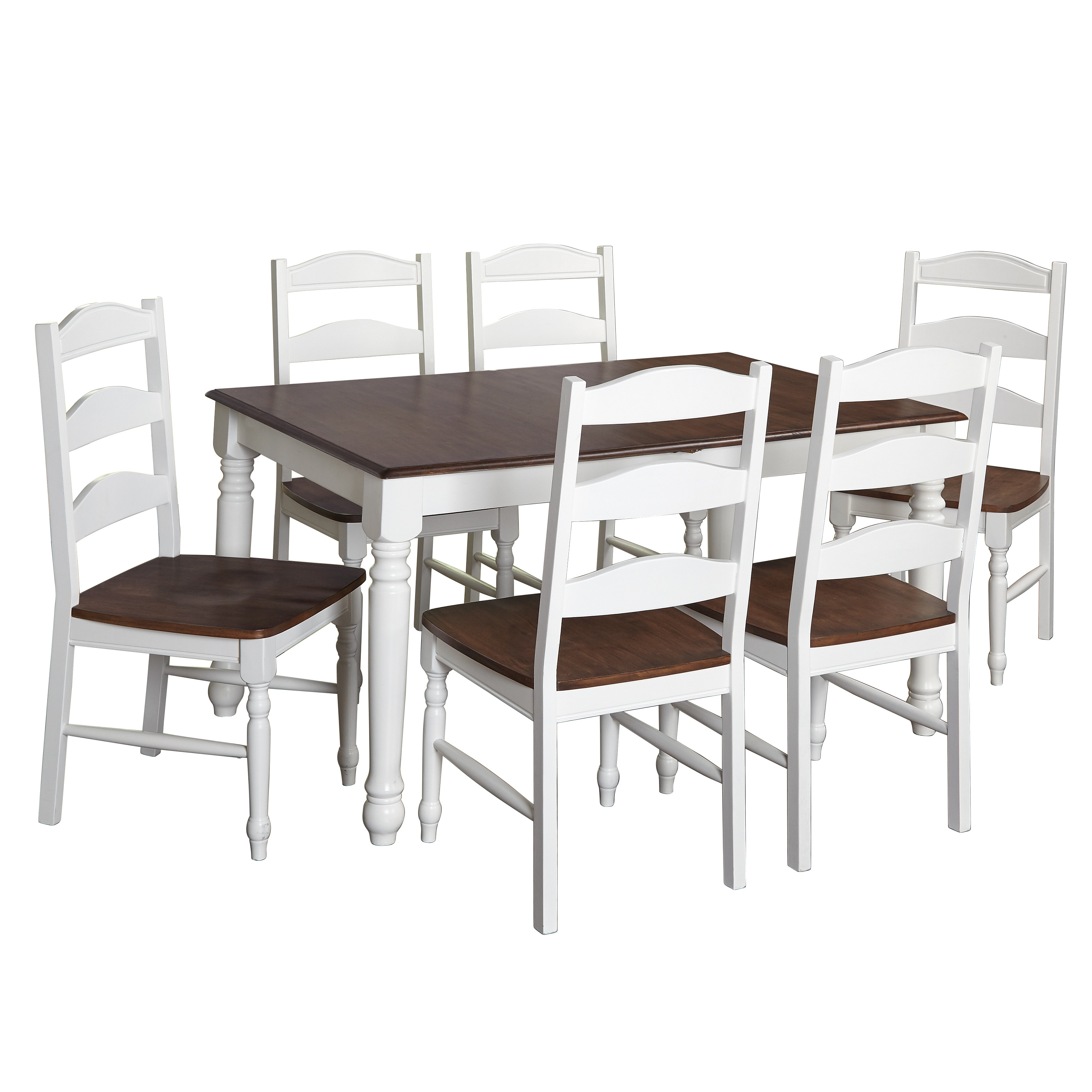 Simple Living Skipton White/Walnut Wood 7-Piece Dining Set