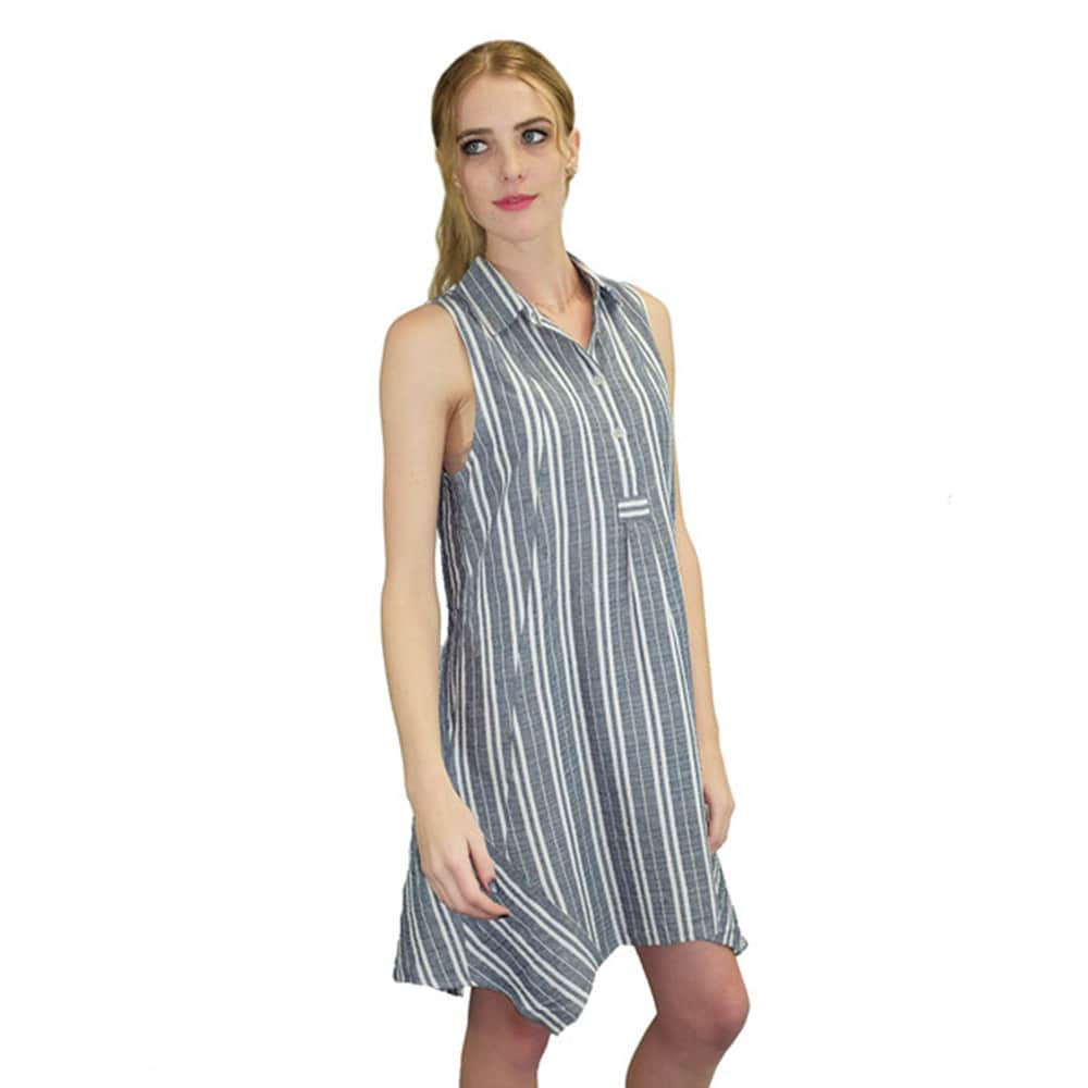 60e0ed5837e0 Shop Relished Women's Blue Cotton and Linen Striped Trapeze Dress - Free  Shipping On Orders Over $45 - Overstock - 12003676