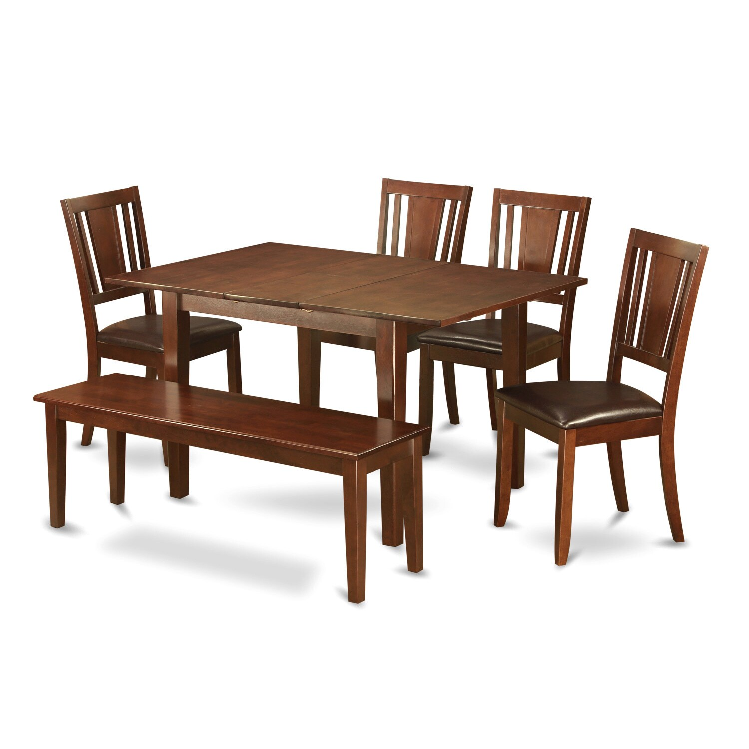 Shop brown rubberwood 6 piece dining table set with dining bench free shipping today overstock com 12003684